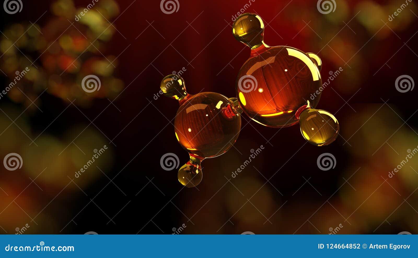 иллюстрация перевода 3d стеклянной модели молекулы Молекула масла Концепция автотракторного масла или газа модели структуры