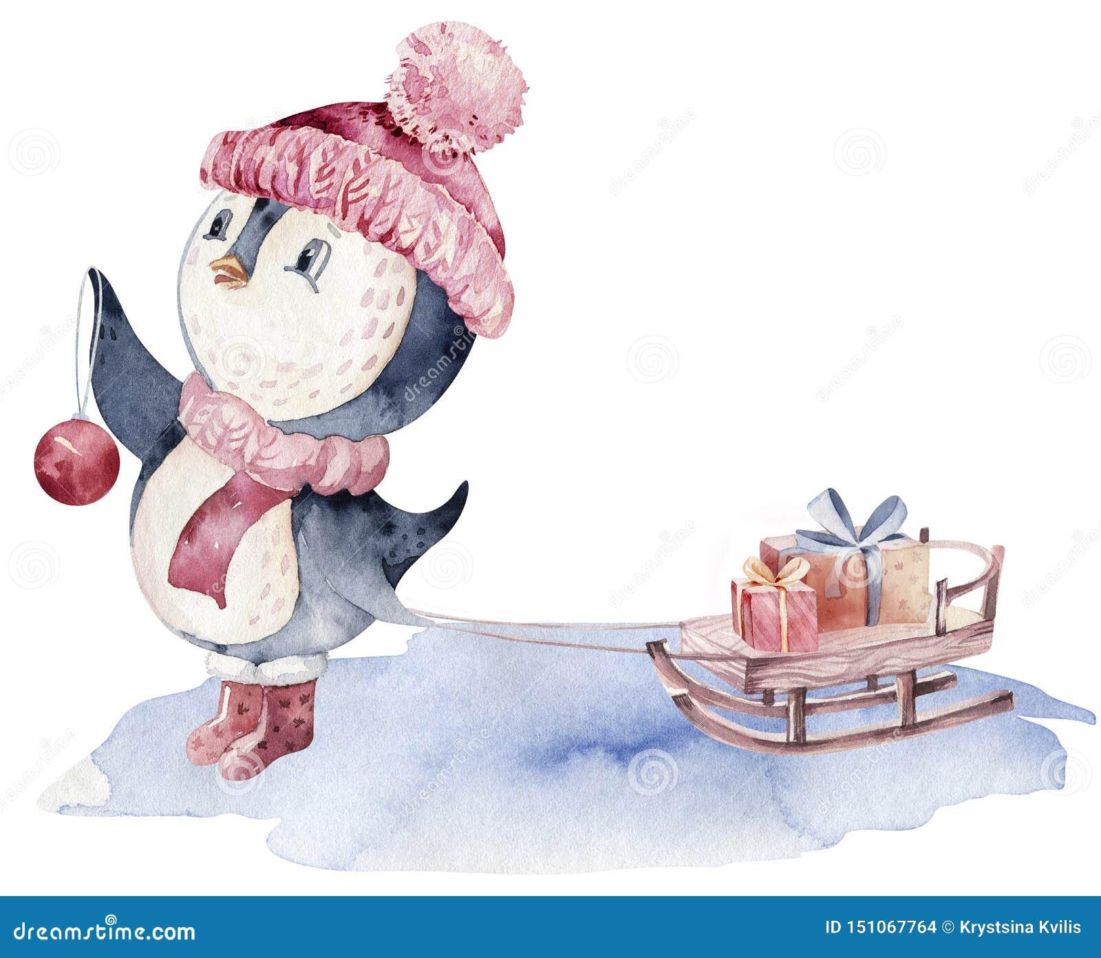Иллюстрация пингвина характера веселого рождества акварели Карта дизайна зимы изолированная мультфильмом милая смешная животная С