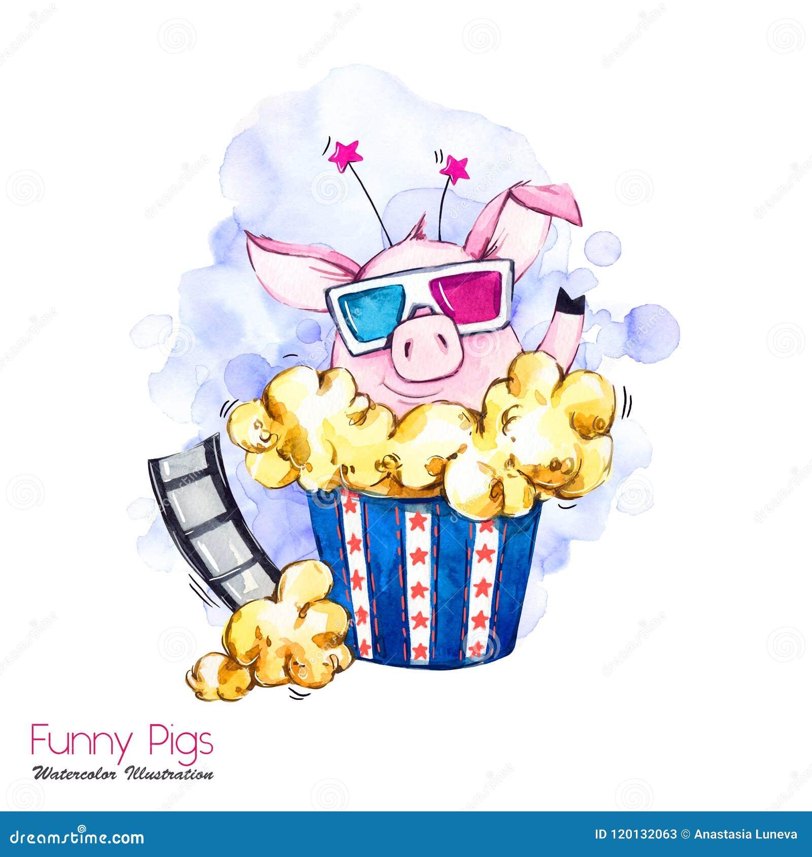 Иллюстрация праздников приветствию Свинья шаржа акварели в коробке мозоли шипучки с стеклами и фильмом кино смешной сярприз