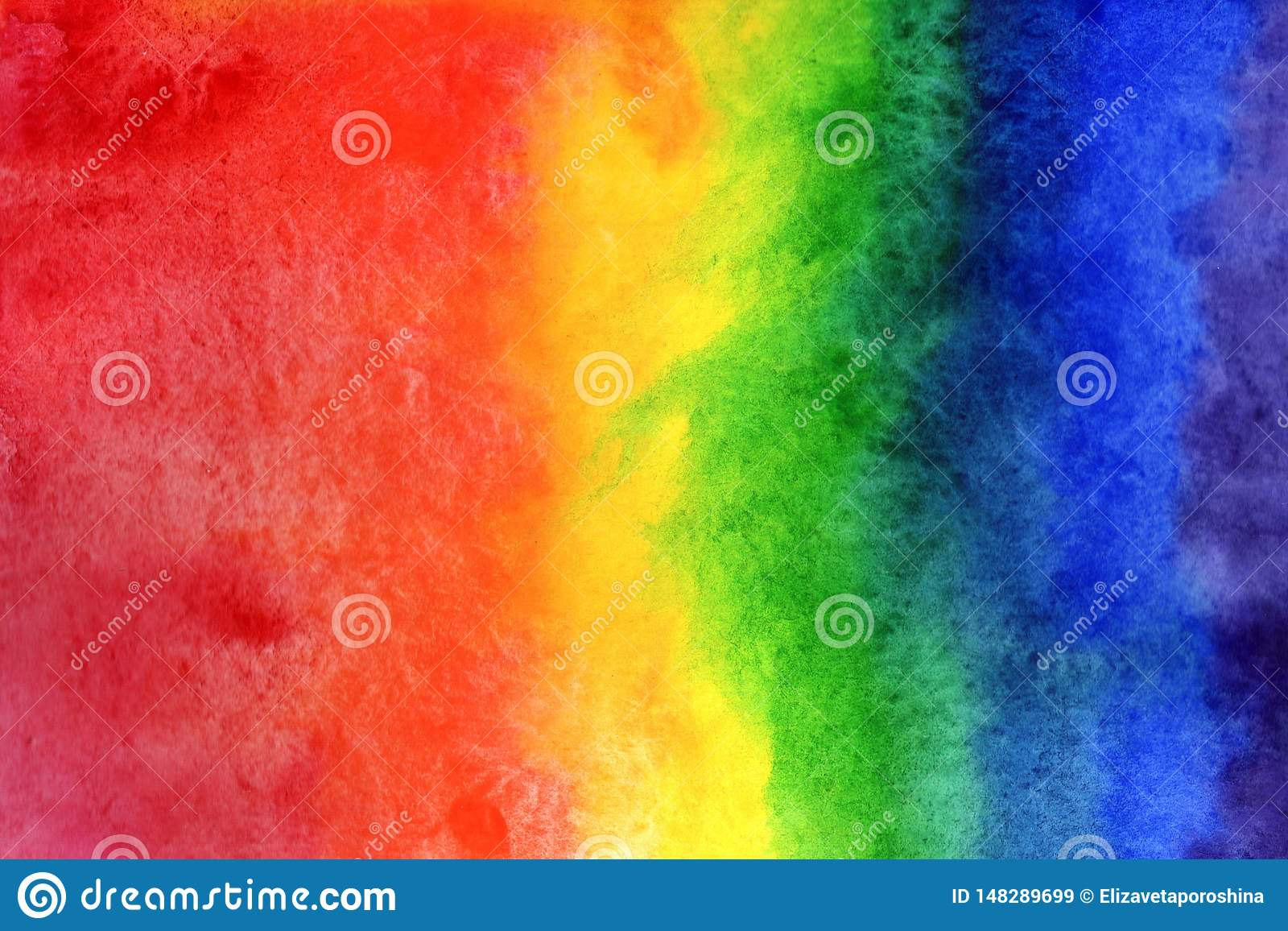 Иллюстрация предпосылки акварели Градиент радуги акварели на бумаге