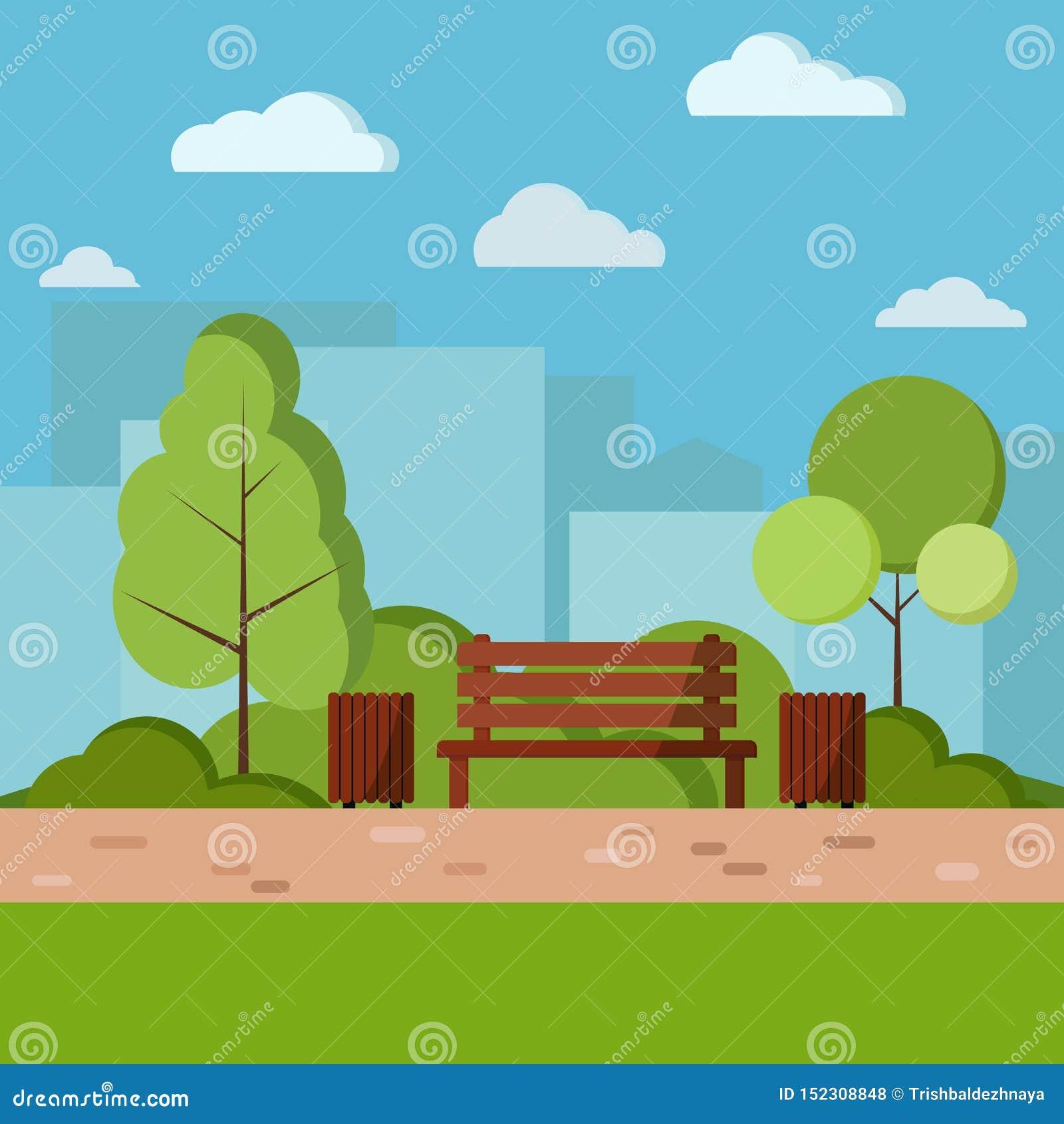 Иллюстрация предпосылки природы дня парка вектора в стиле мультфильма плоском