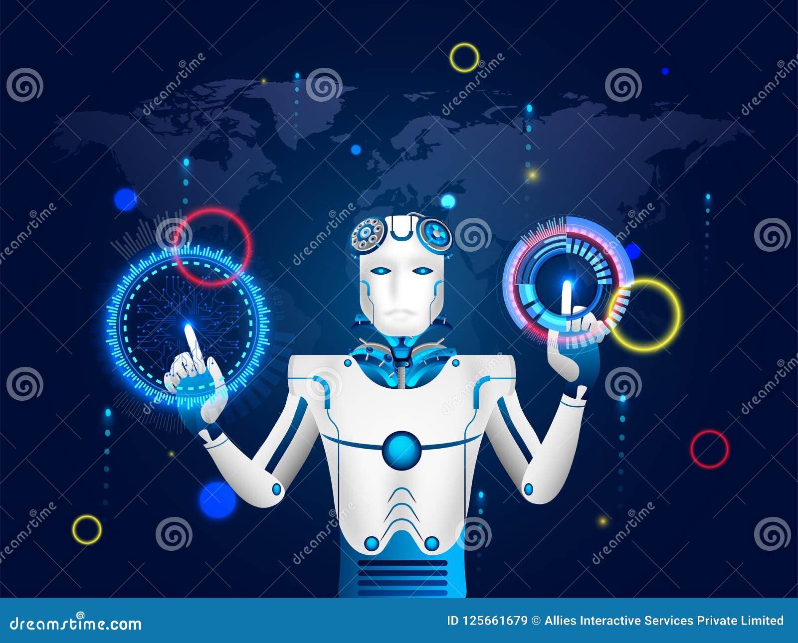 Иллюстрация робота гуманоида работая с виртуальным interfac HUD