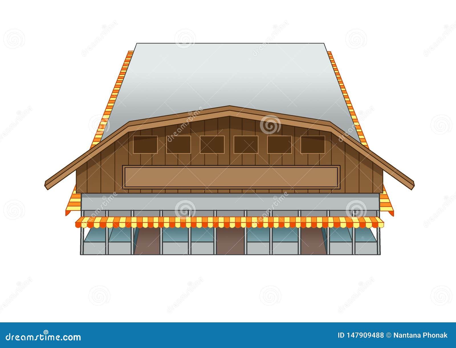 Иллюстрация рынка здания дизайна западная