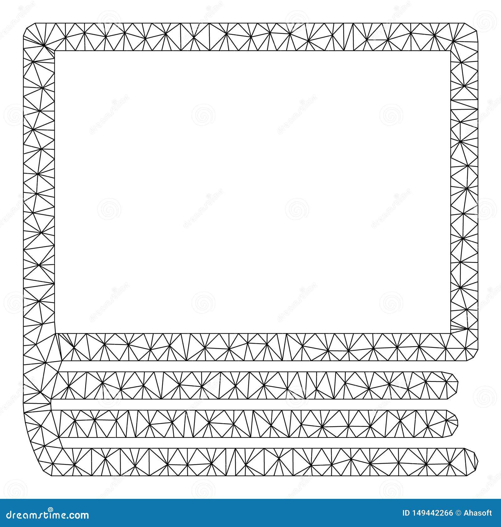 Иллюстрация сетки вектора рамки книги полигональная