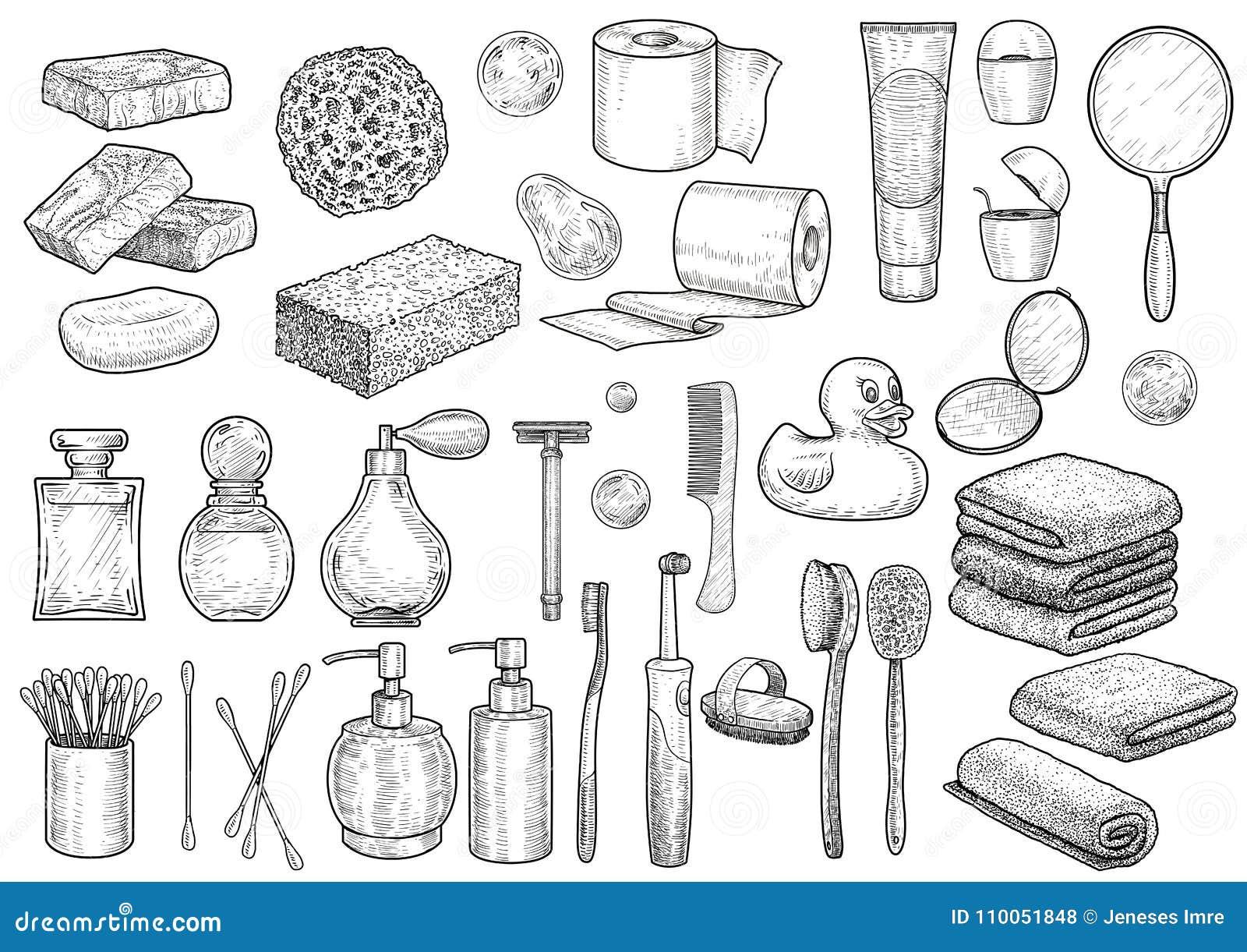 Иллюстрация собрания ванной комнаты, чертеж, гравировка, чернила, линия искусство, вектор