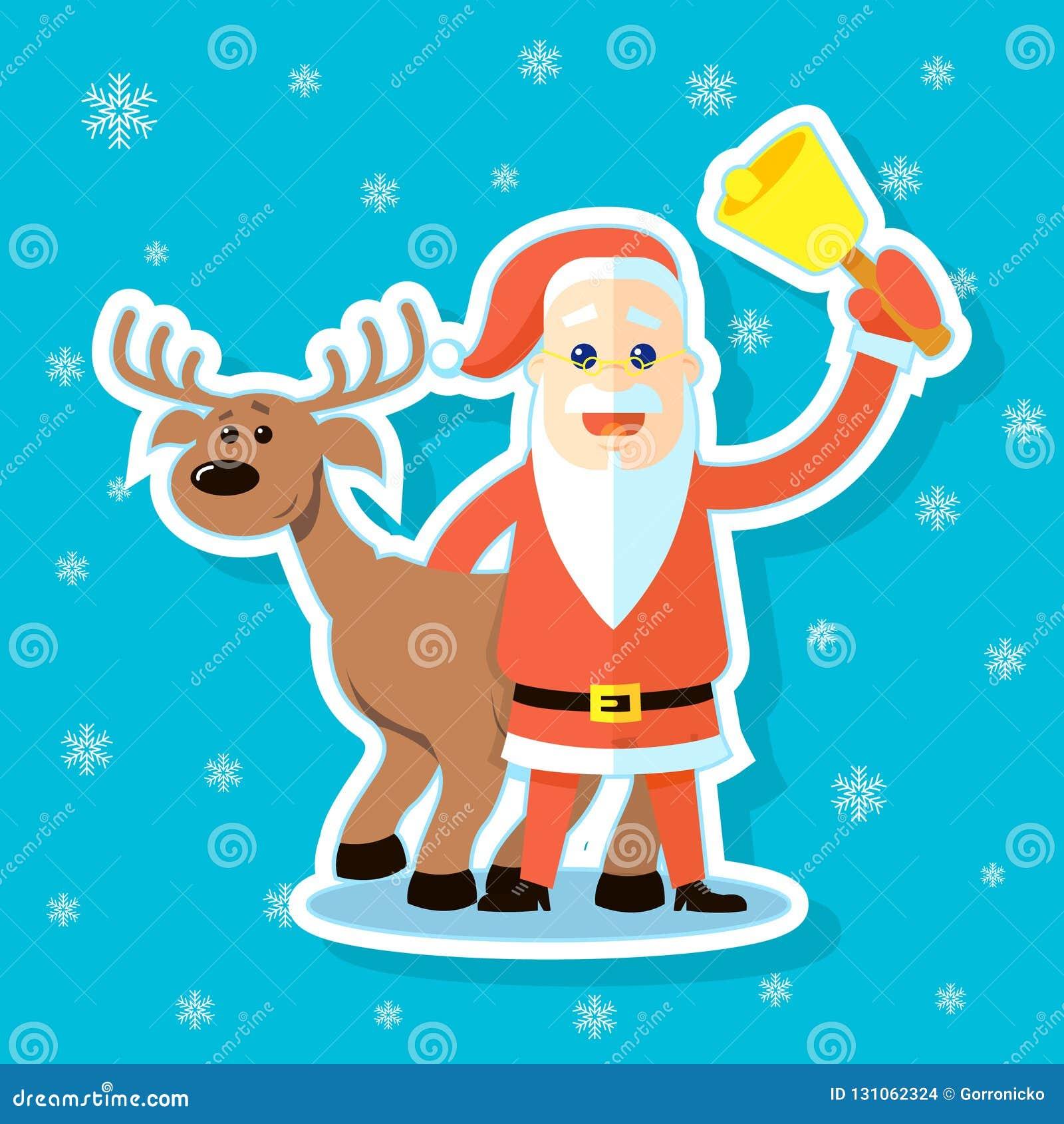 Иллюстрация стикера плоского мультфильма Санта Клауса искусства с северным оленем