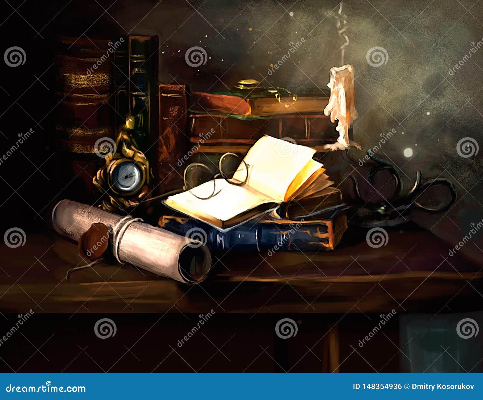 Иллюстрация стола писателя