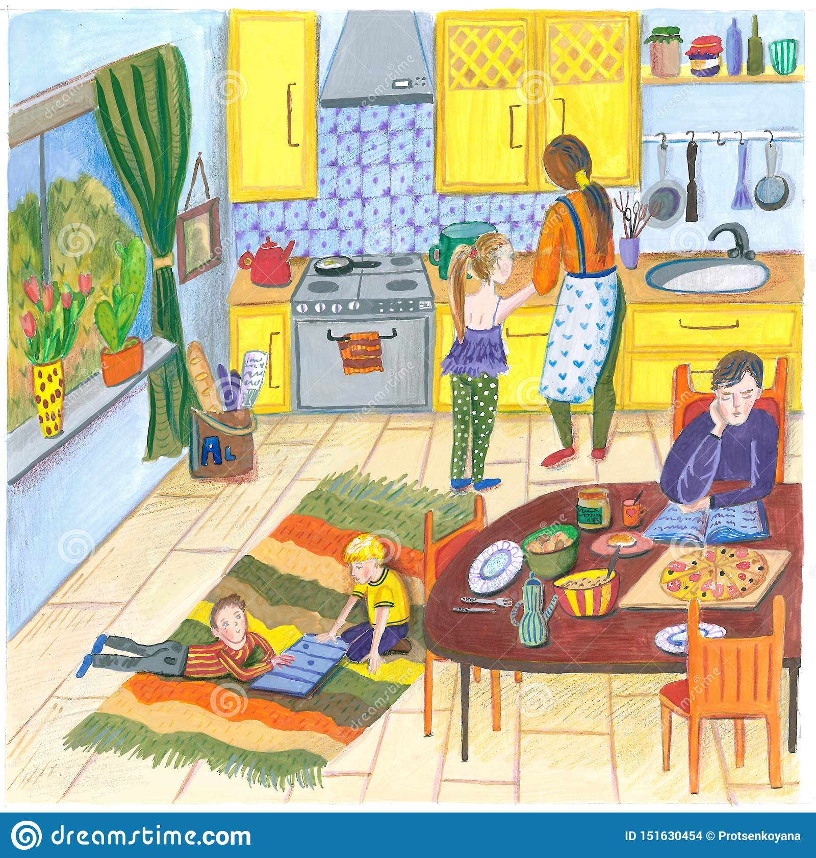 Иллюстрация счастливой семьи дома в кухне на обед, обедающий или завтрак, мать, отца, ребенка и собаку в a
