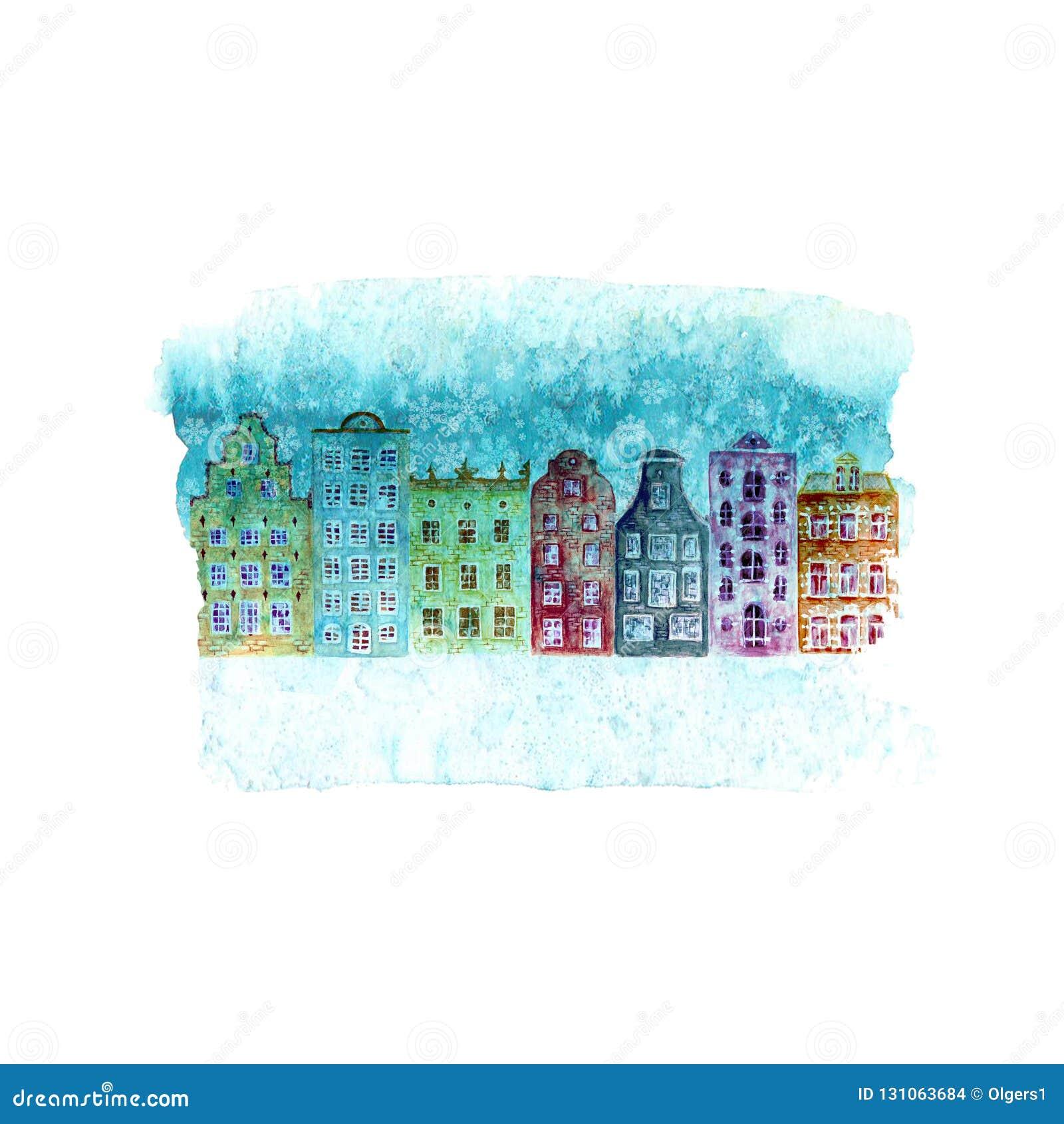 Иллюстрация с домами красочной акварели зимы старыми европейскими, снег С Новым Годом! и рождества на голубом пятне teal