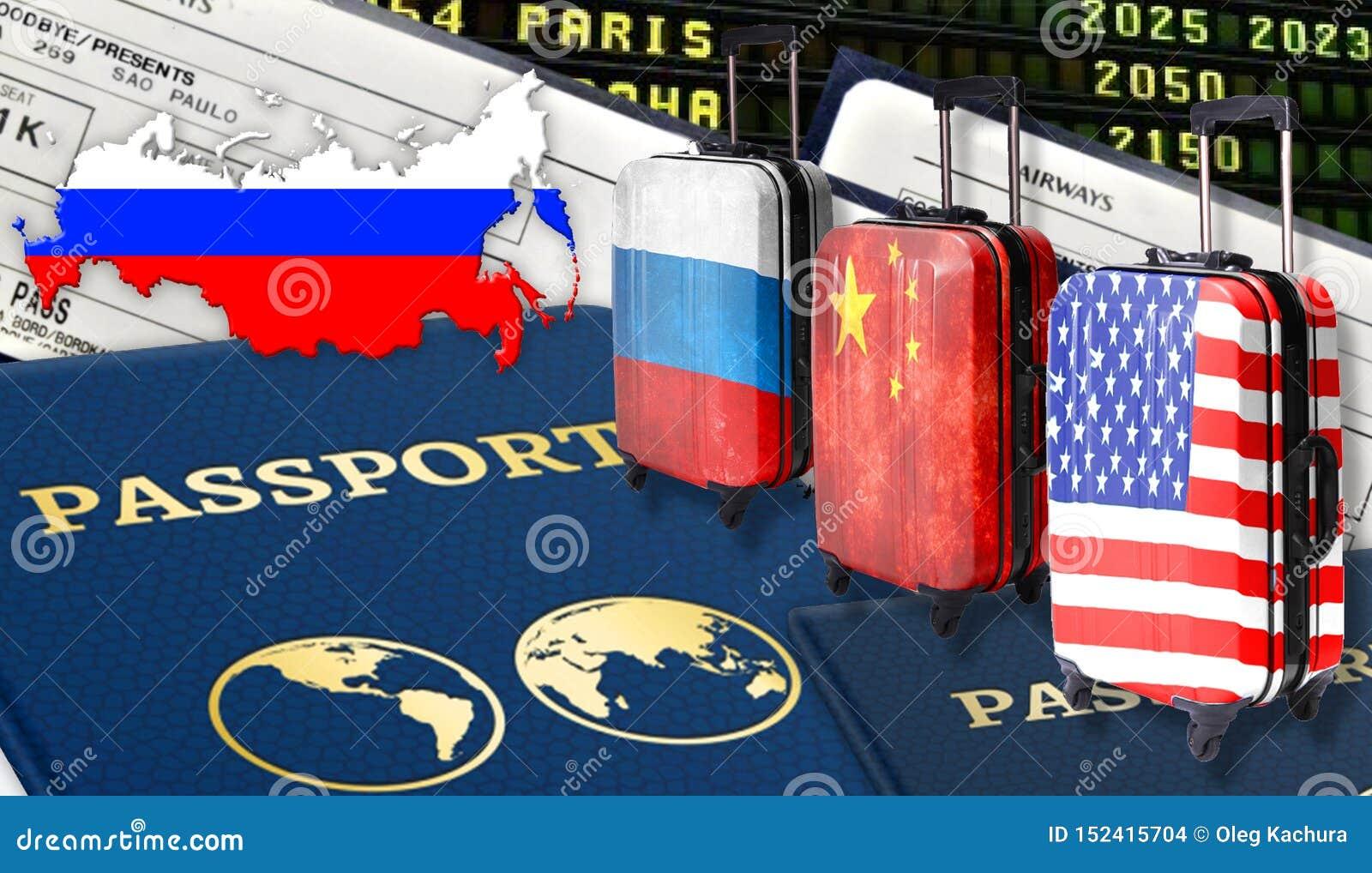 Иллюстрация с 2 международными паспортами, 3 чемоданы с русских флагами, американского и китайцем, билетами и флагом