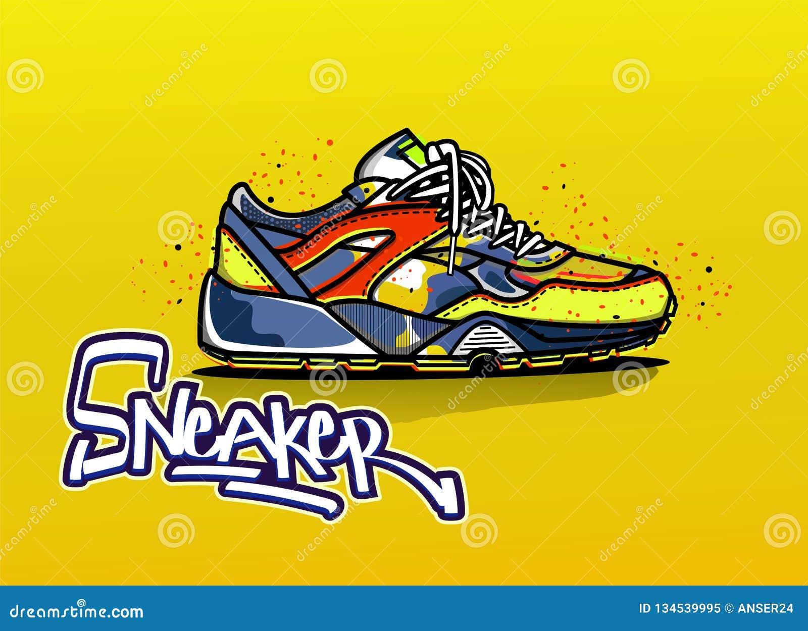 Иллюстрация тапок в цвете спорт ботинок