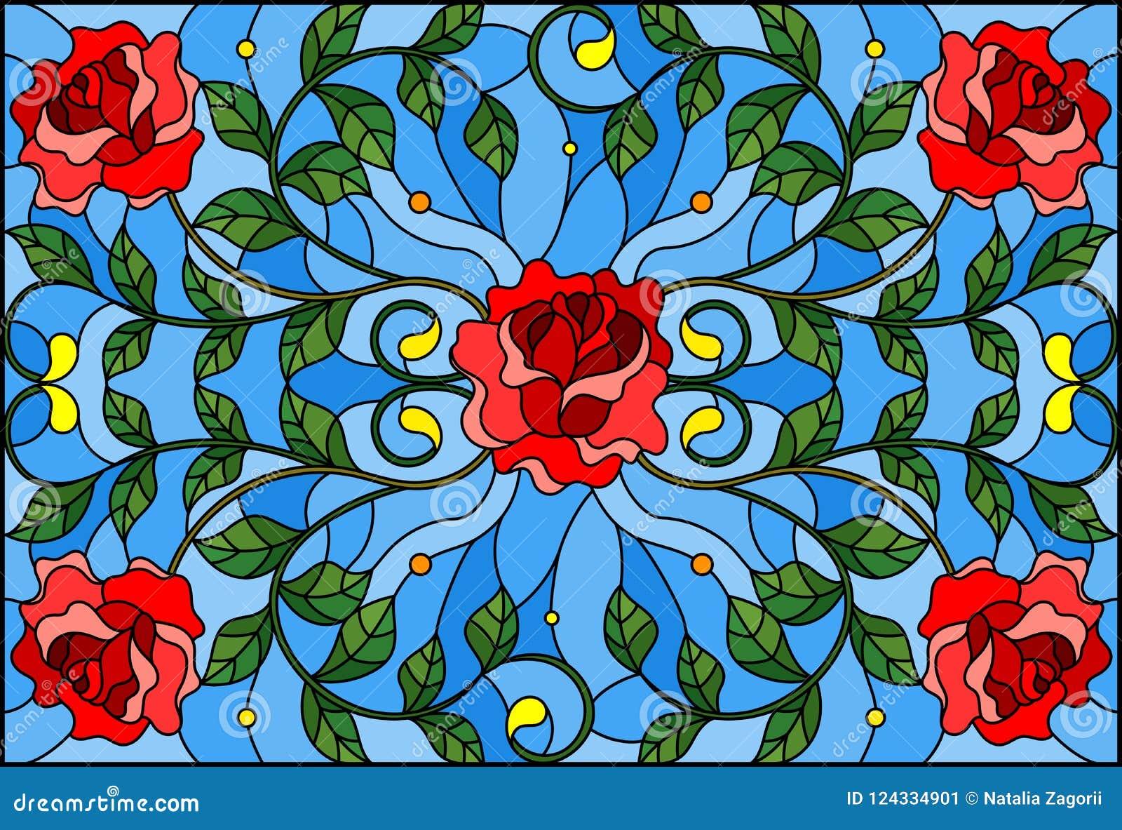 Иллюстрация цветного стекла с красной розой разветвляет на голубой предпосылке, прямоугольном изображении