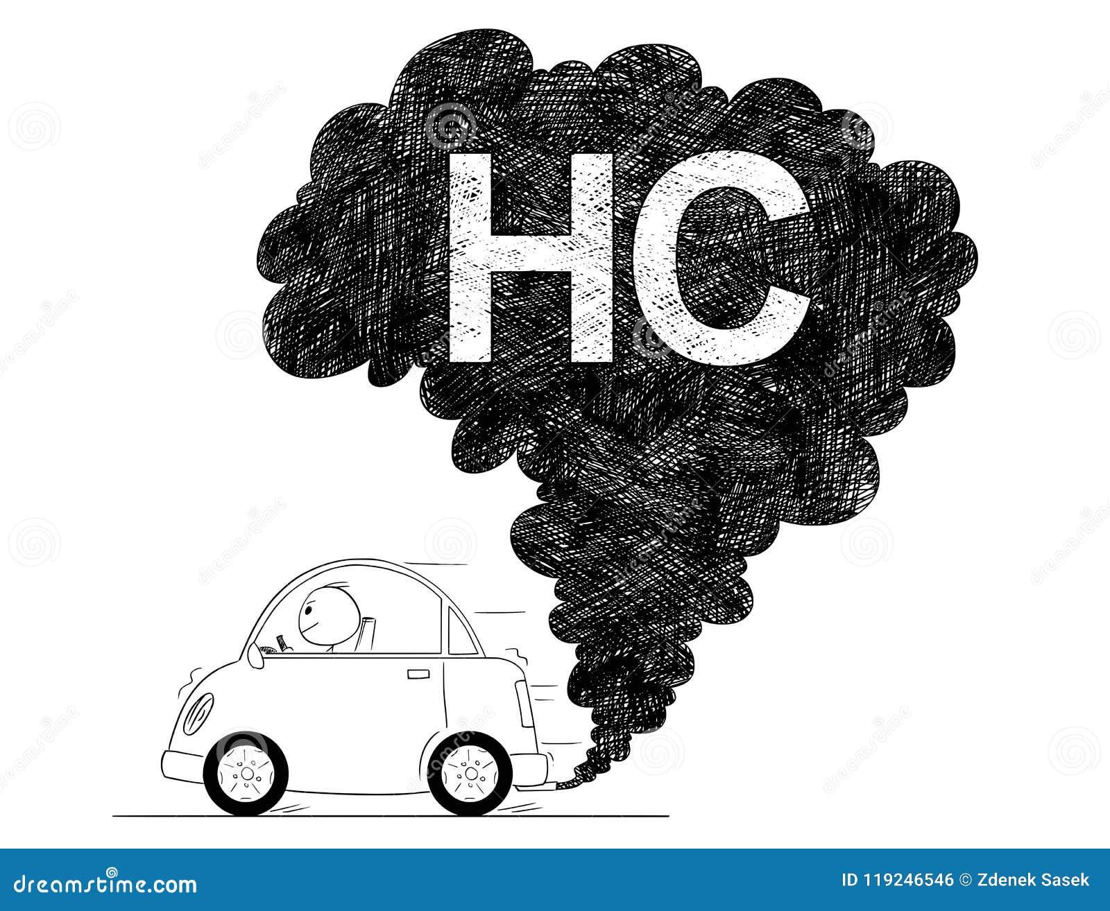 Иллюстрация чертежа вектора художническая загрязнения воздуха HC автомобиля