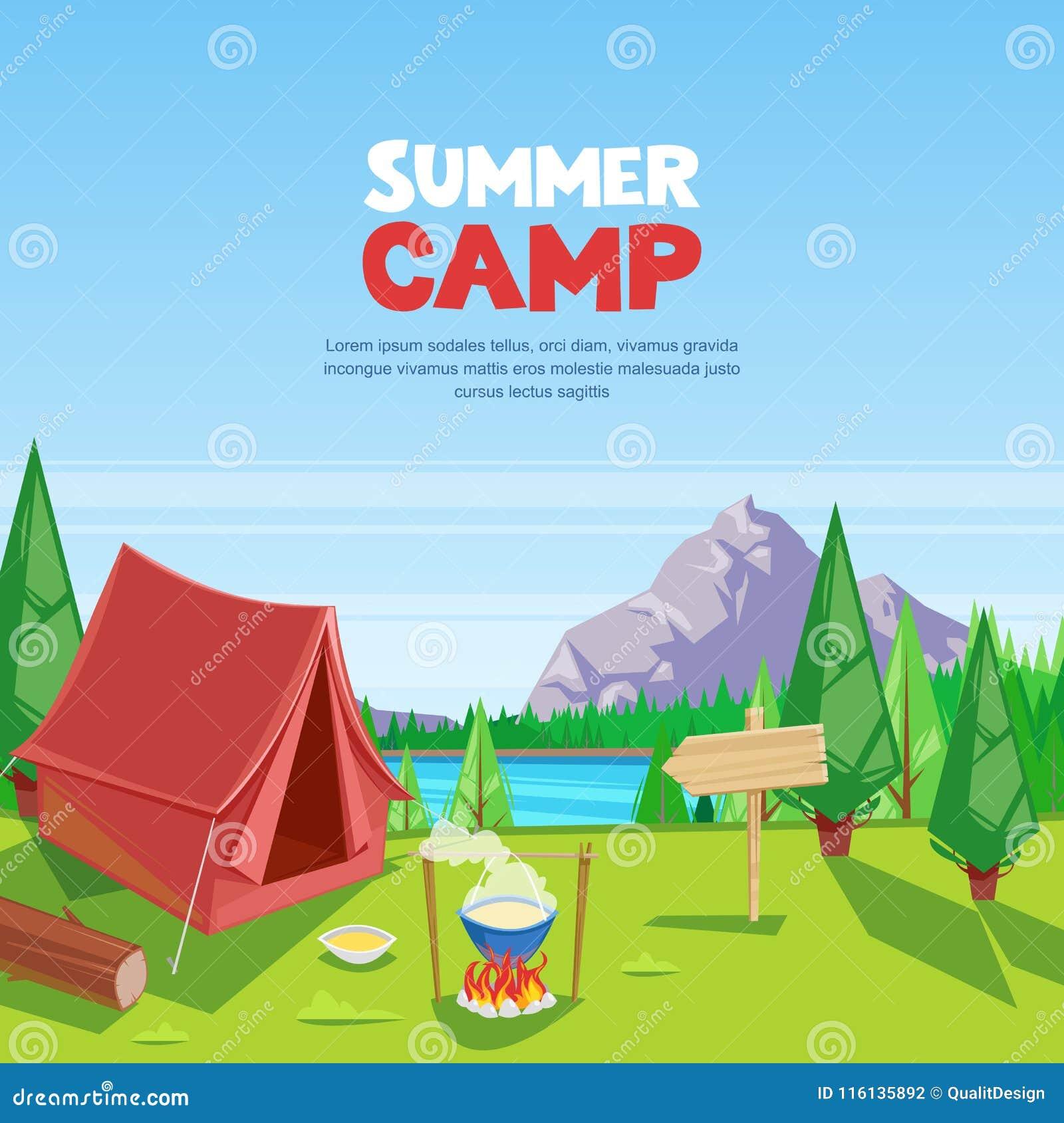 Иллюстрация шаржа вектора лета располагаясь лагерем Концепция туризма приключений, перемещения и eco Touristic шатер лагеря на лу