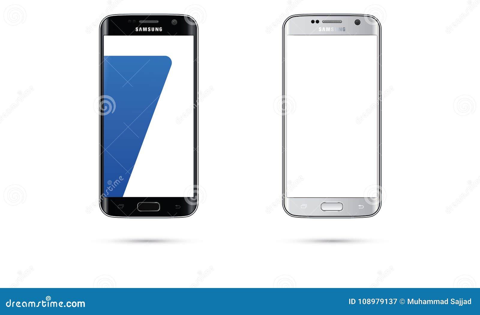 Иллюстрация экрана касания мобильного телефона края галактики S7 Samsung андроида вектора