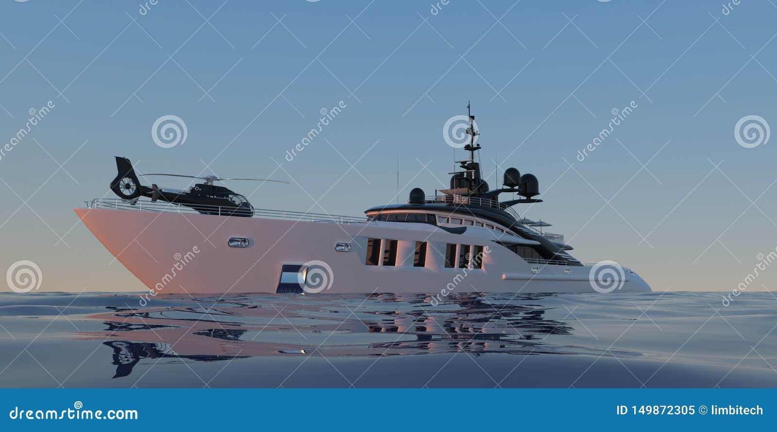 Иллюстрация 3d весьма детального и реалистического высокого разрешения photorealistic роскошной супер яхты