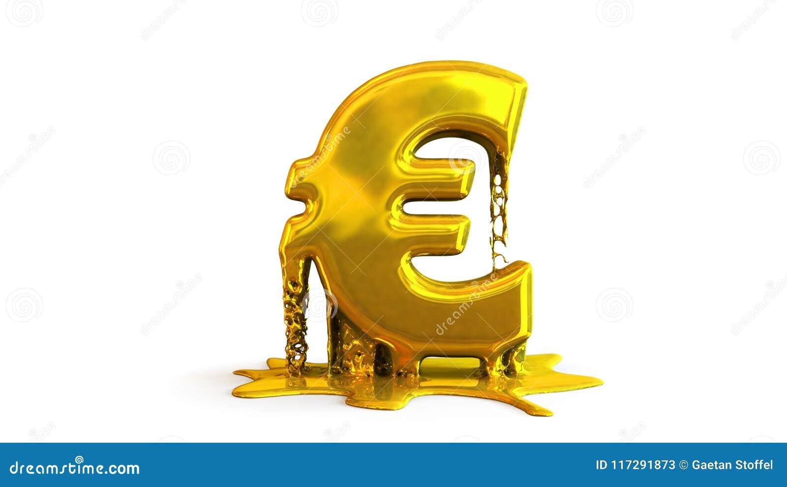 иллюстрация 3D плавить символа евро