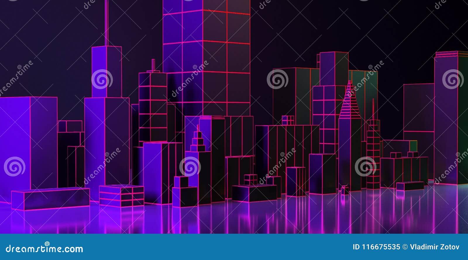 иллюстрация 3d План города ночи с неоновым заревом и яркими цветами