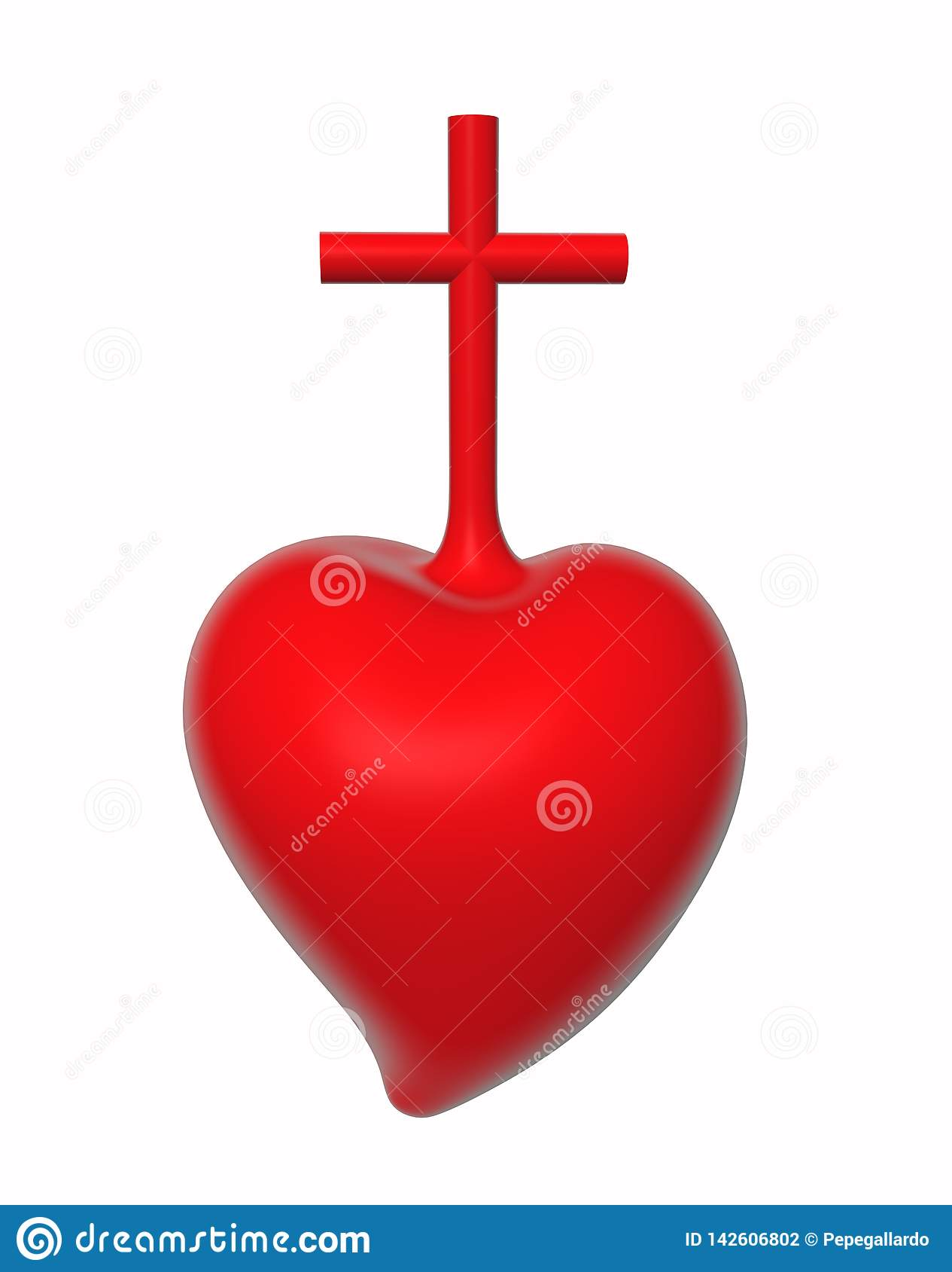 иллюстрация 3D священного сердца Иисуса