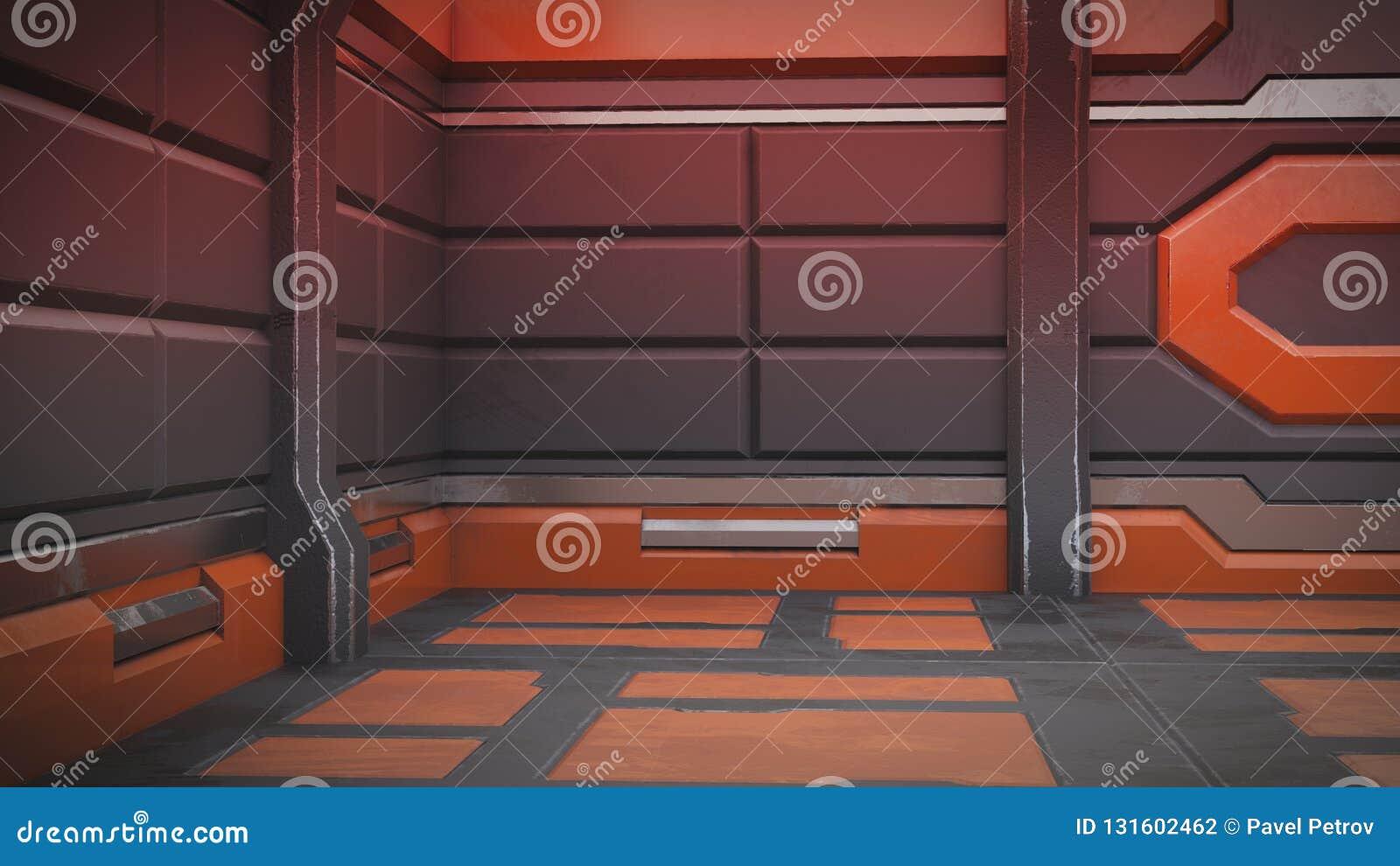 иллюстрация 3d футуристического интерьера космического корабля дизайна иллюстрация