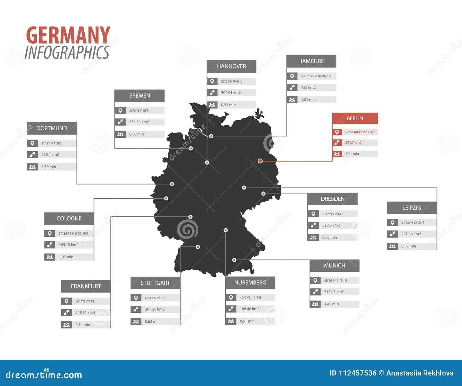 Иллюстрация infographics формы карты Германии