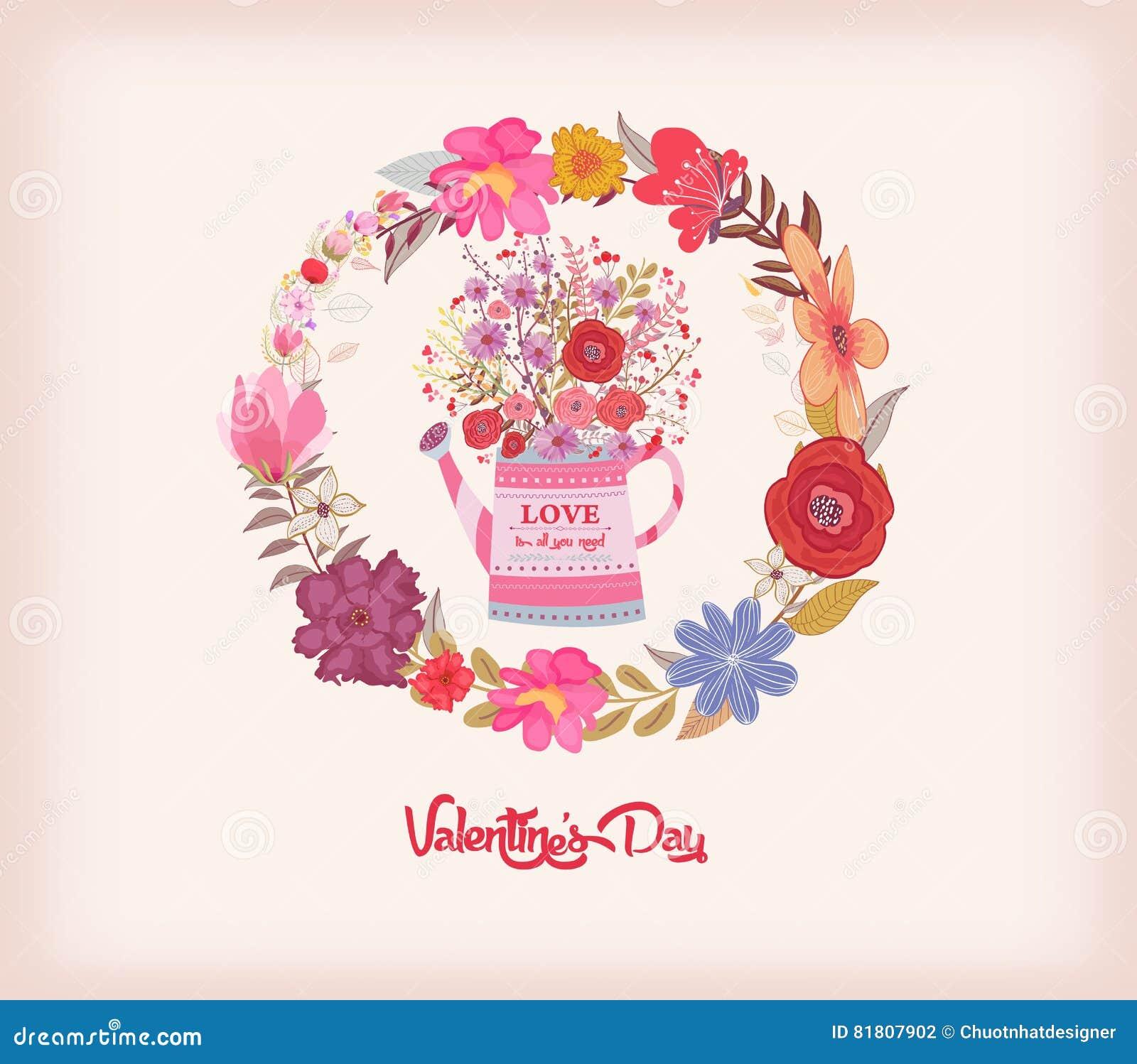 имеющийся вектор valentines архива дня карточки Моча чонсервная банка с букетом акварели цветет