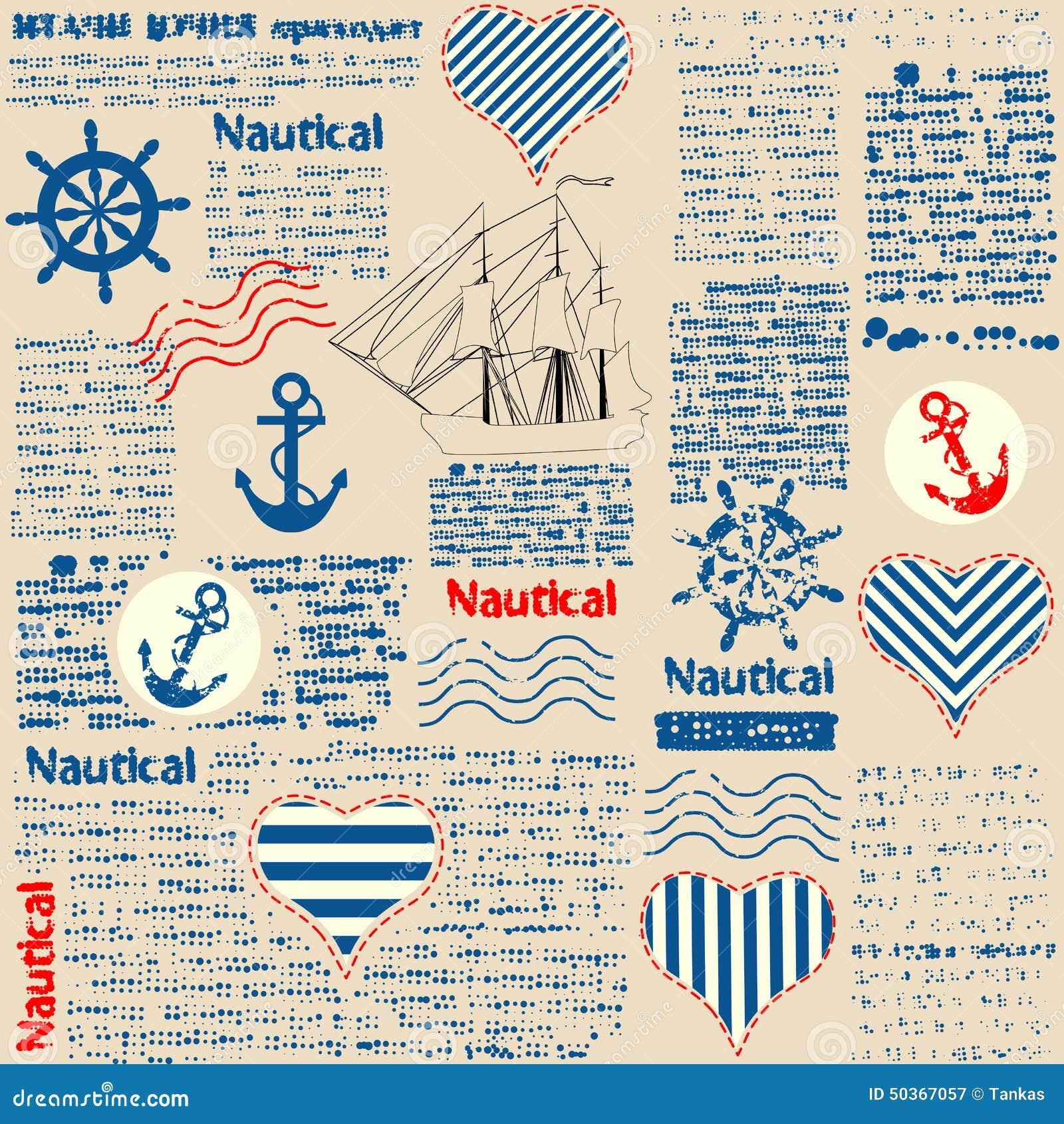 Имитация газеты в морском стиле с