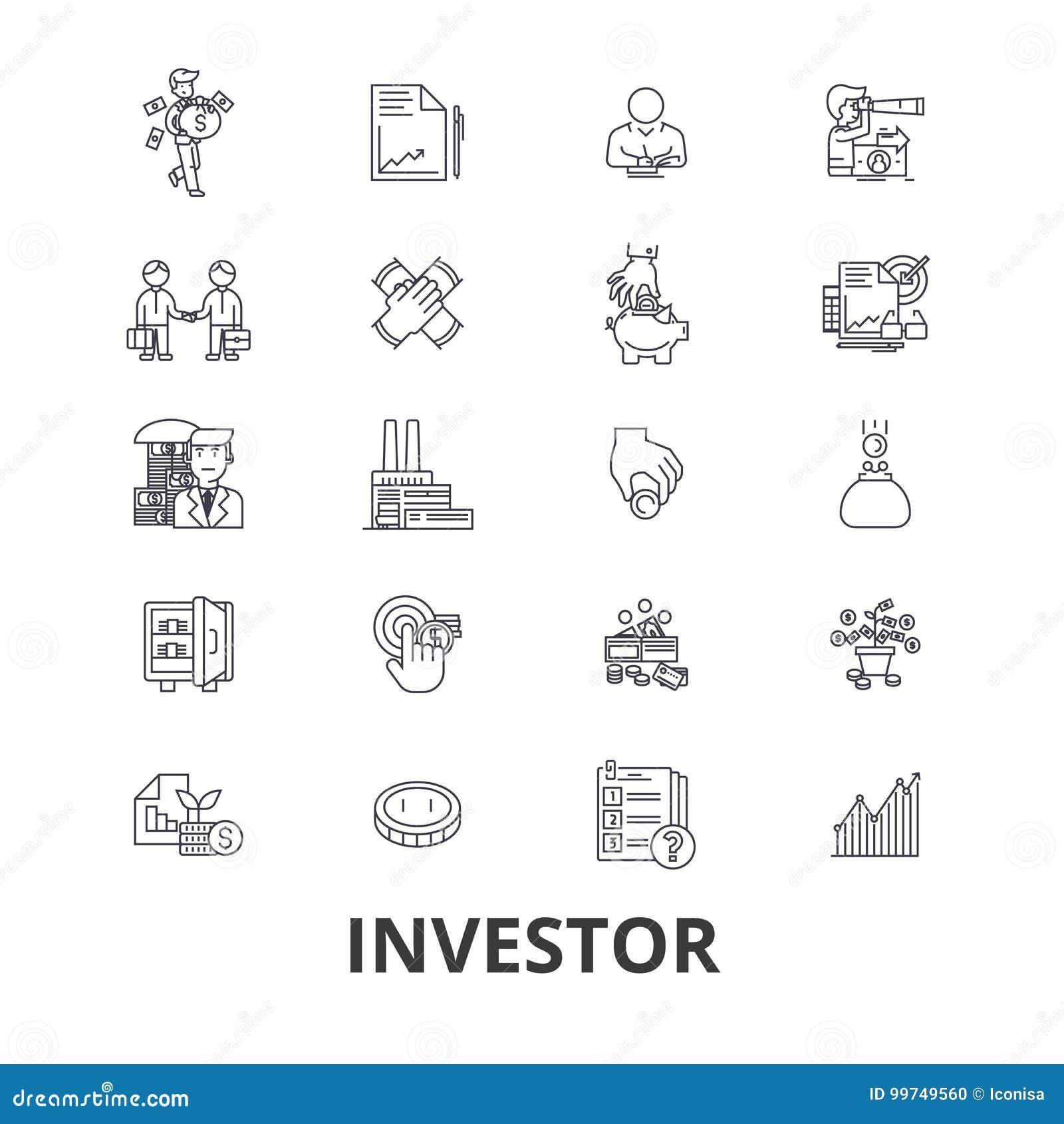 Инвестор, вклад, дело, фондовая биржа, финансы, деньги, бизнесмен, линия банка значки Editable ходы плоско