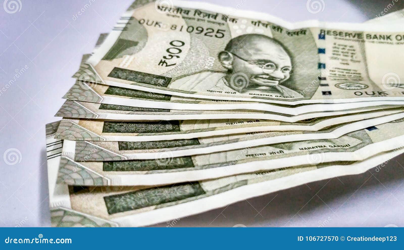 Индийское примечание Rs валюты 500