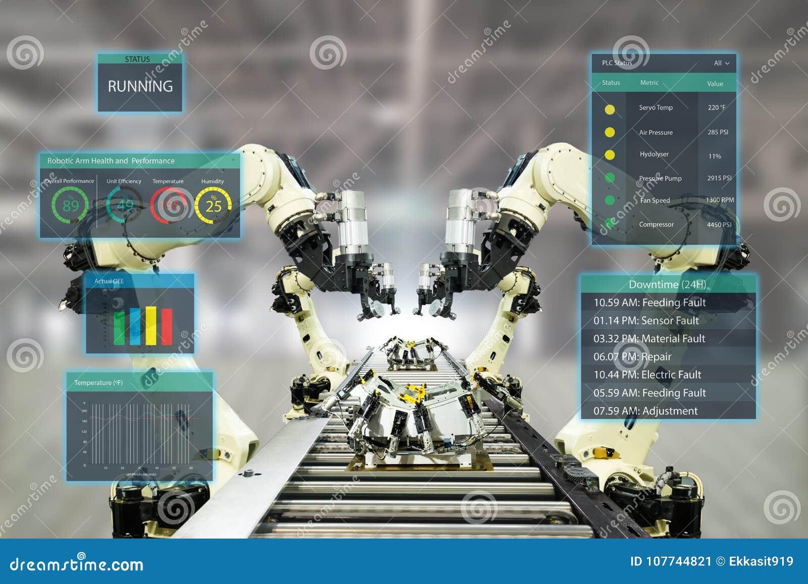 Индустрия 4 Iot Слово красного цвета расположенное над текстом белого цвета Умная фабрика используя оружия автоматизации робототе