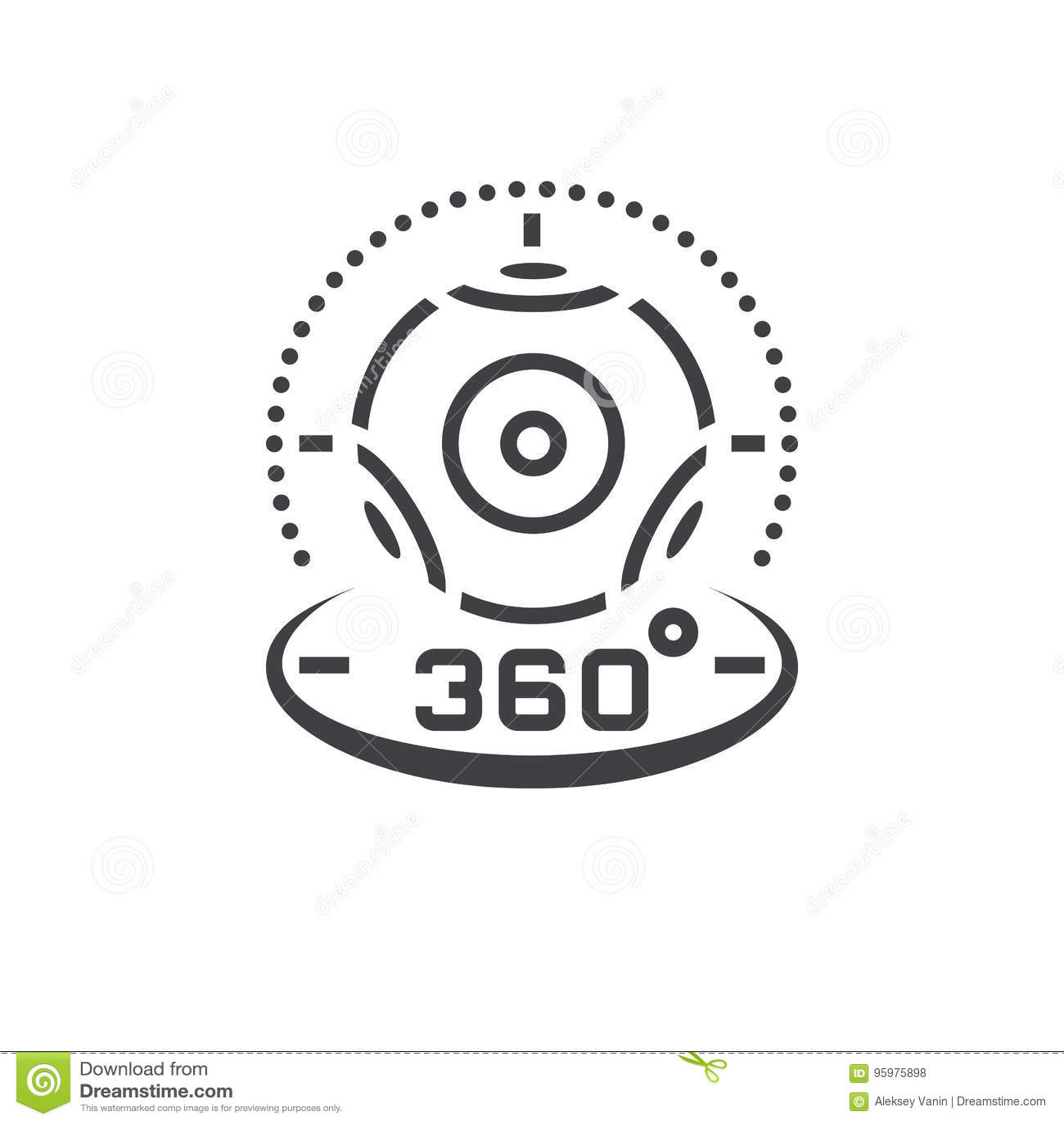 линия значок видеокамеры 360 градусов панорамная, dev виртуальной реальности