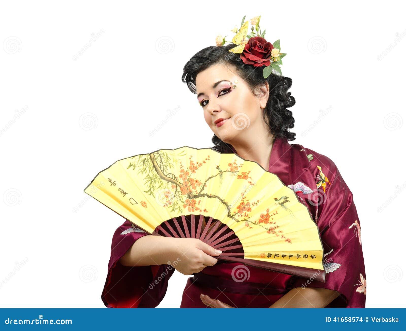 длинной с Полу портрет женщины кимоно цветков с волосами