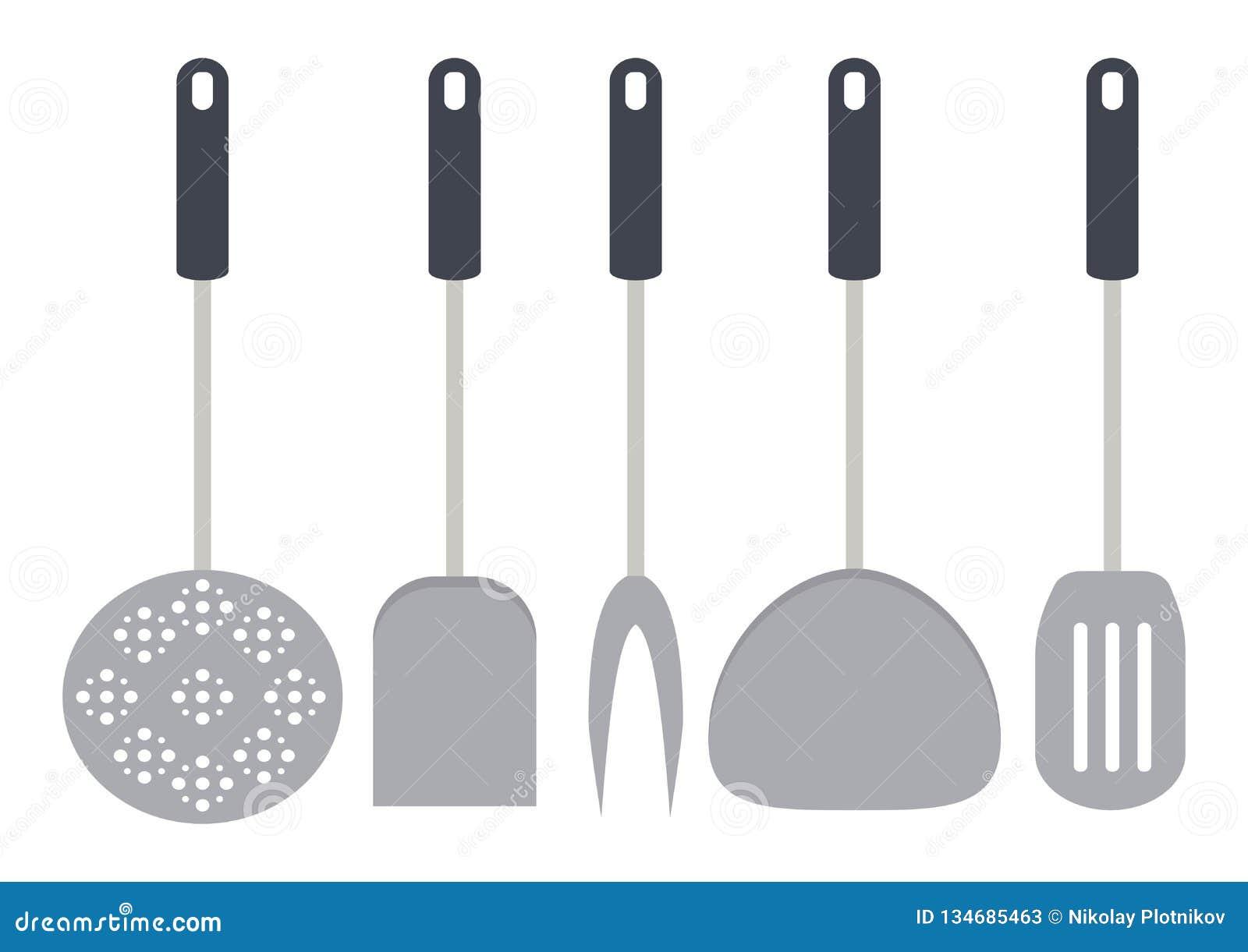 Инструменты кухни и утвари ресторана изолированные на белом backgroud Шпатель, венчик, вилка, ковш, slicer сыра, шумовка