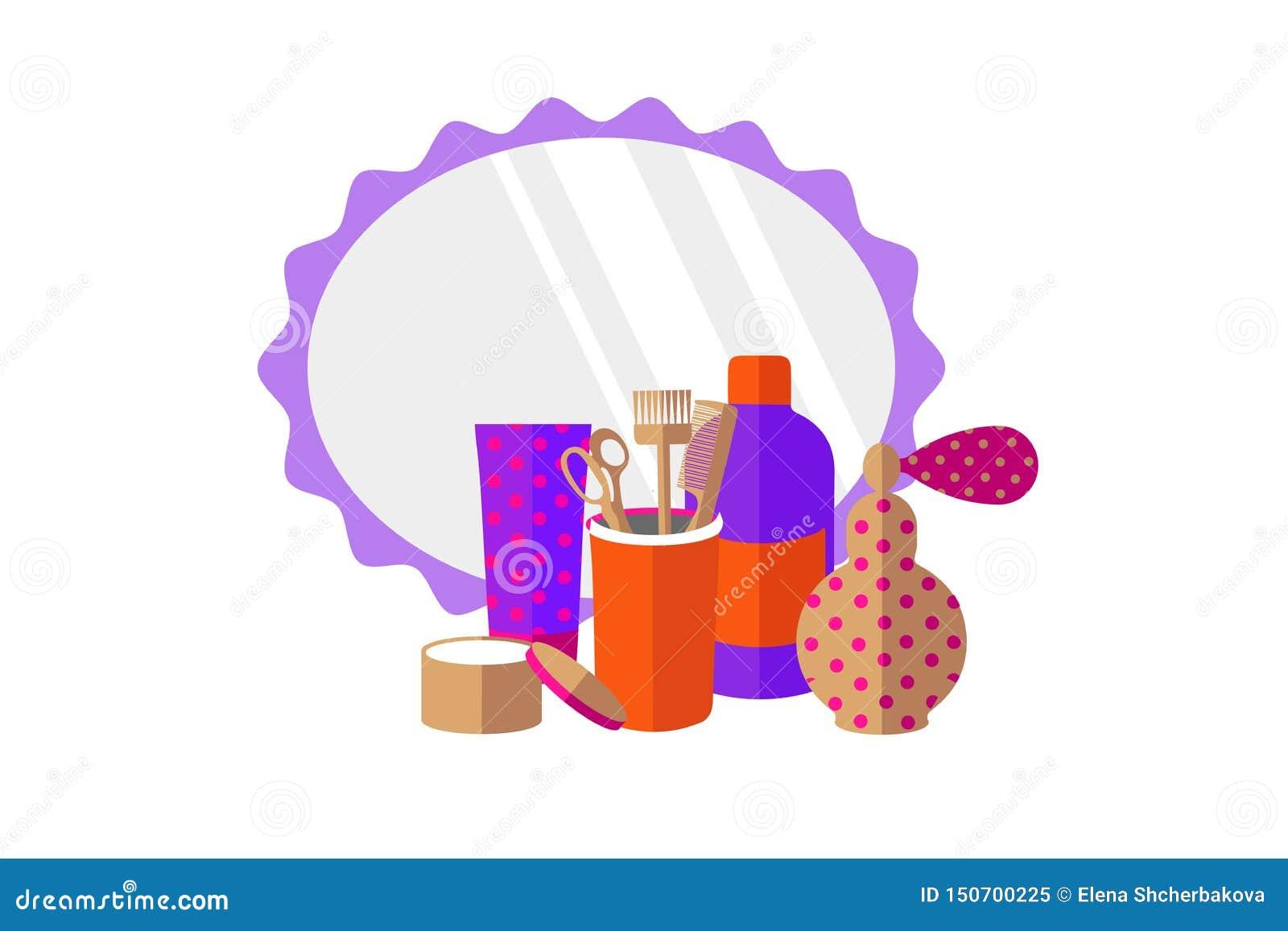 Инструменты парикмахерских услуг, духи, зеркало на белой предпосылке