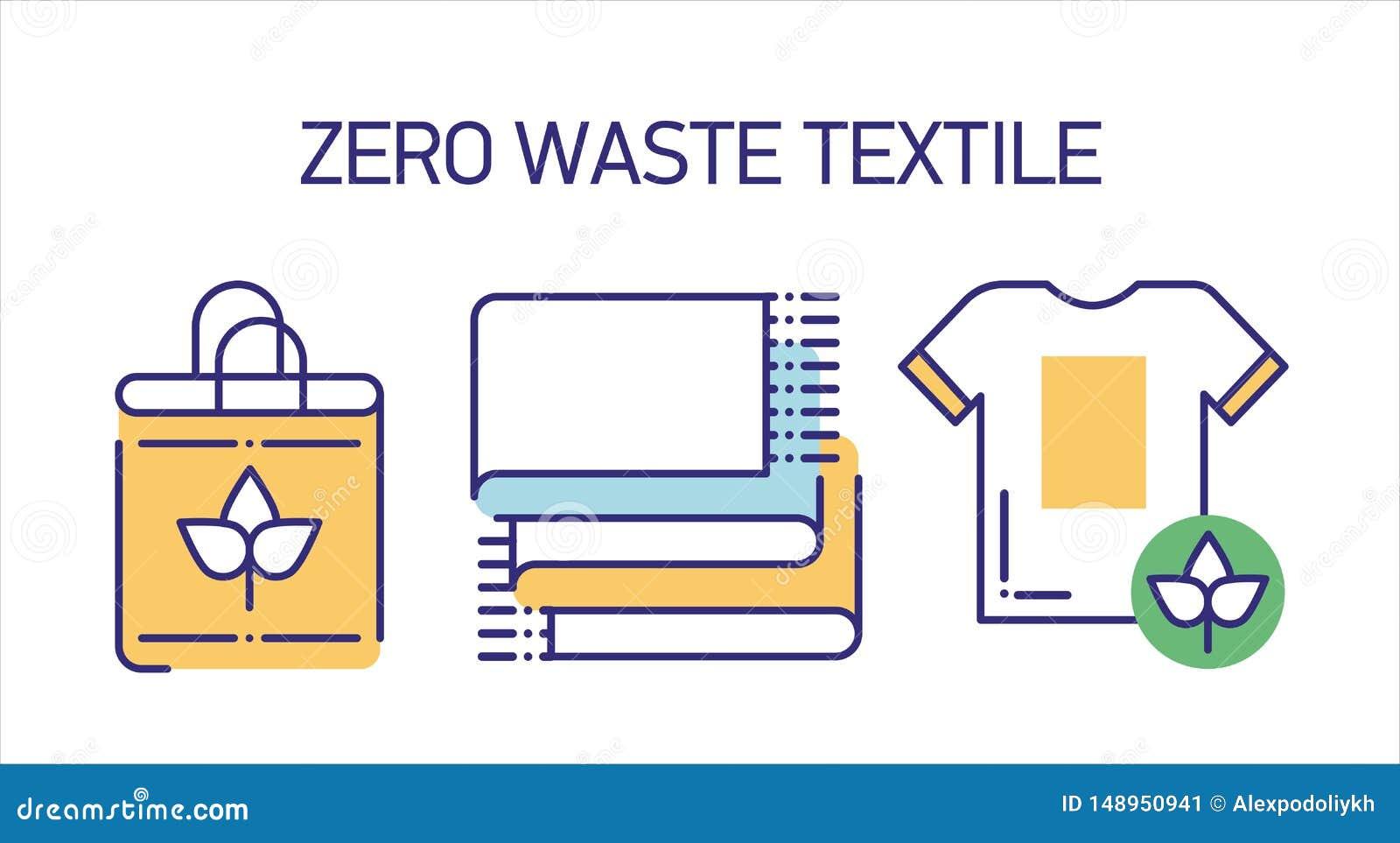 Инструменты ткани recyclable выравнивают набор значков цвета