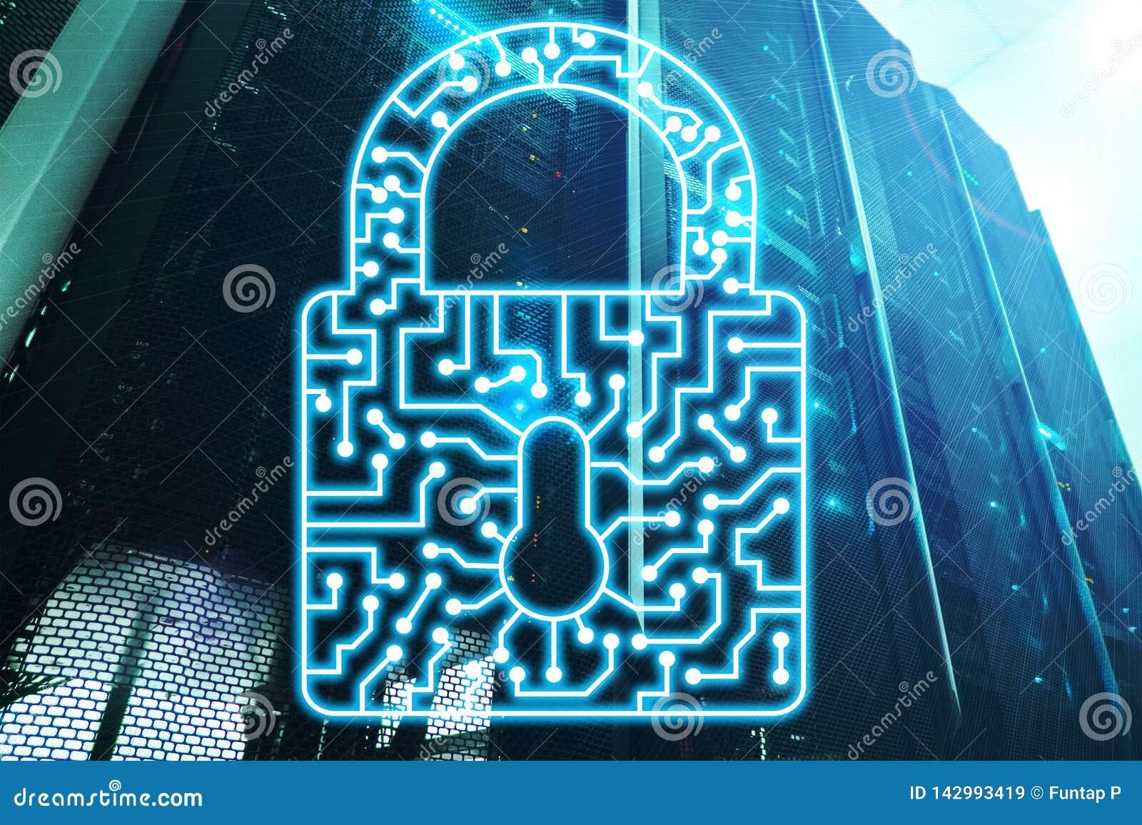 Интернет защиты данных уединения данным по значка замка безопасностью кибер и концепция технологии