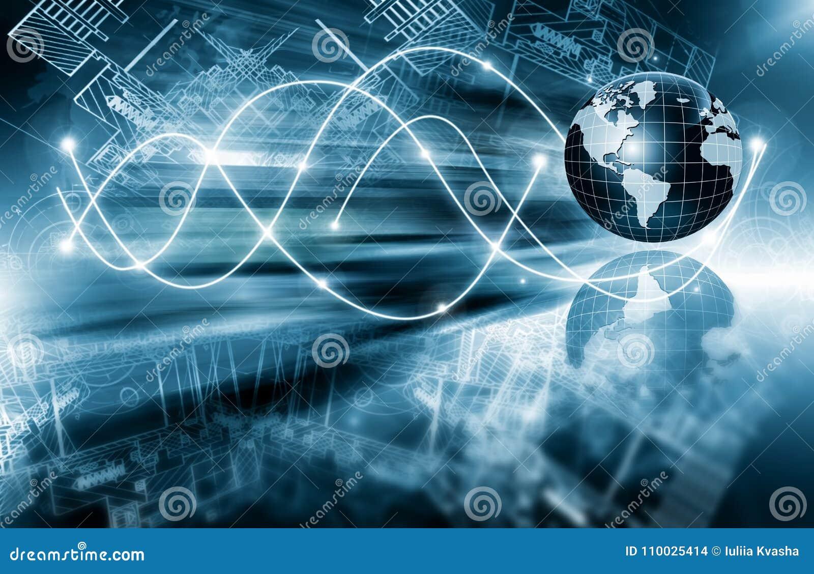 интернет самой лучшей принципиальной схемы дела гловальный Глобус, накаляя линии на технологической предпосылке Wi-Fi, лучи, симв