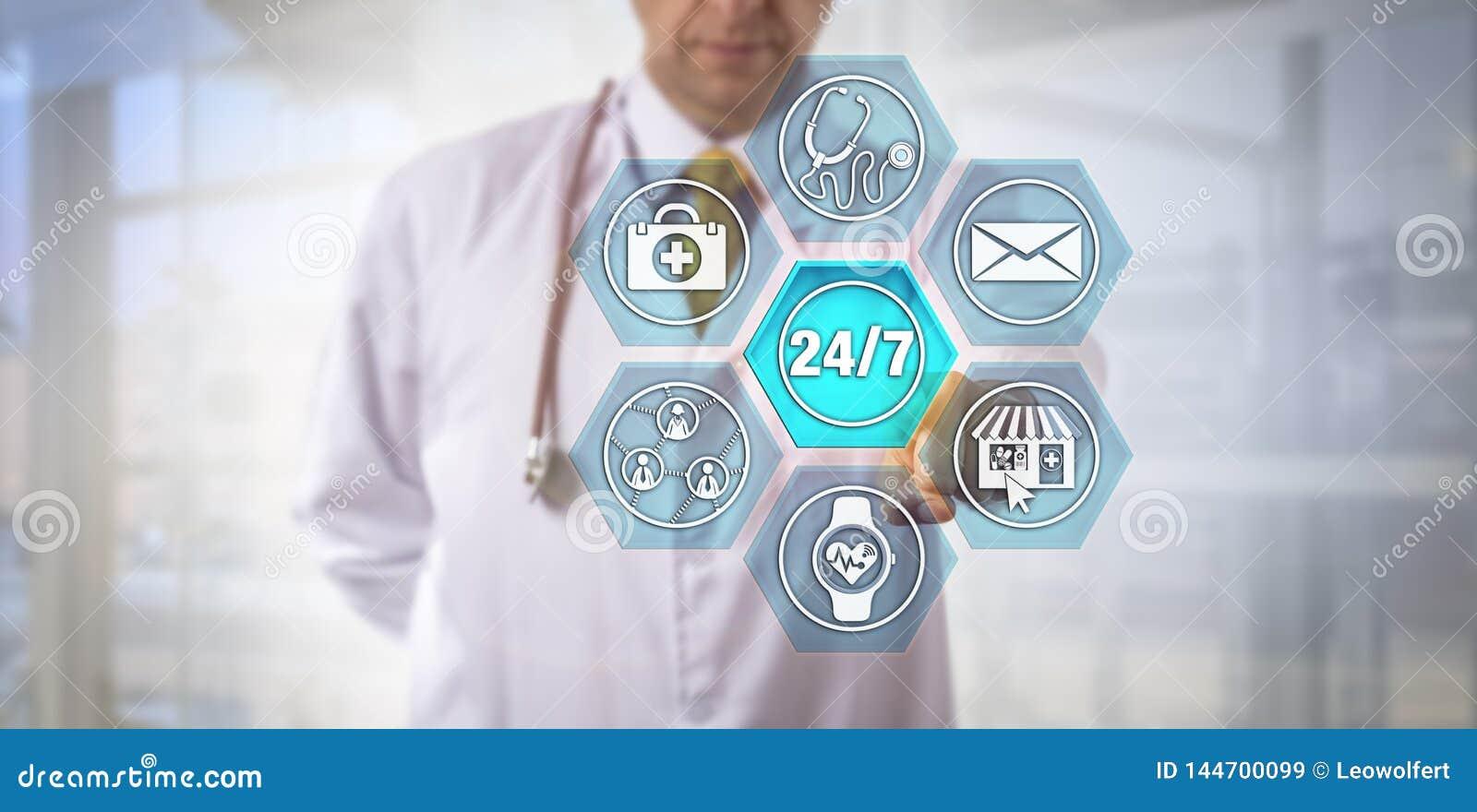 Интернет-сообразительный врач активируя 24/7 обслуживаний
