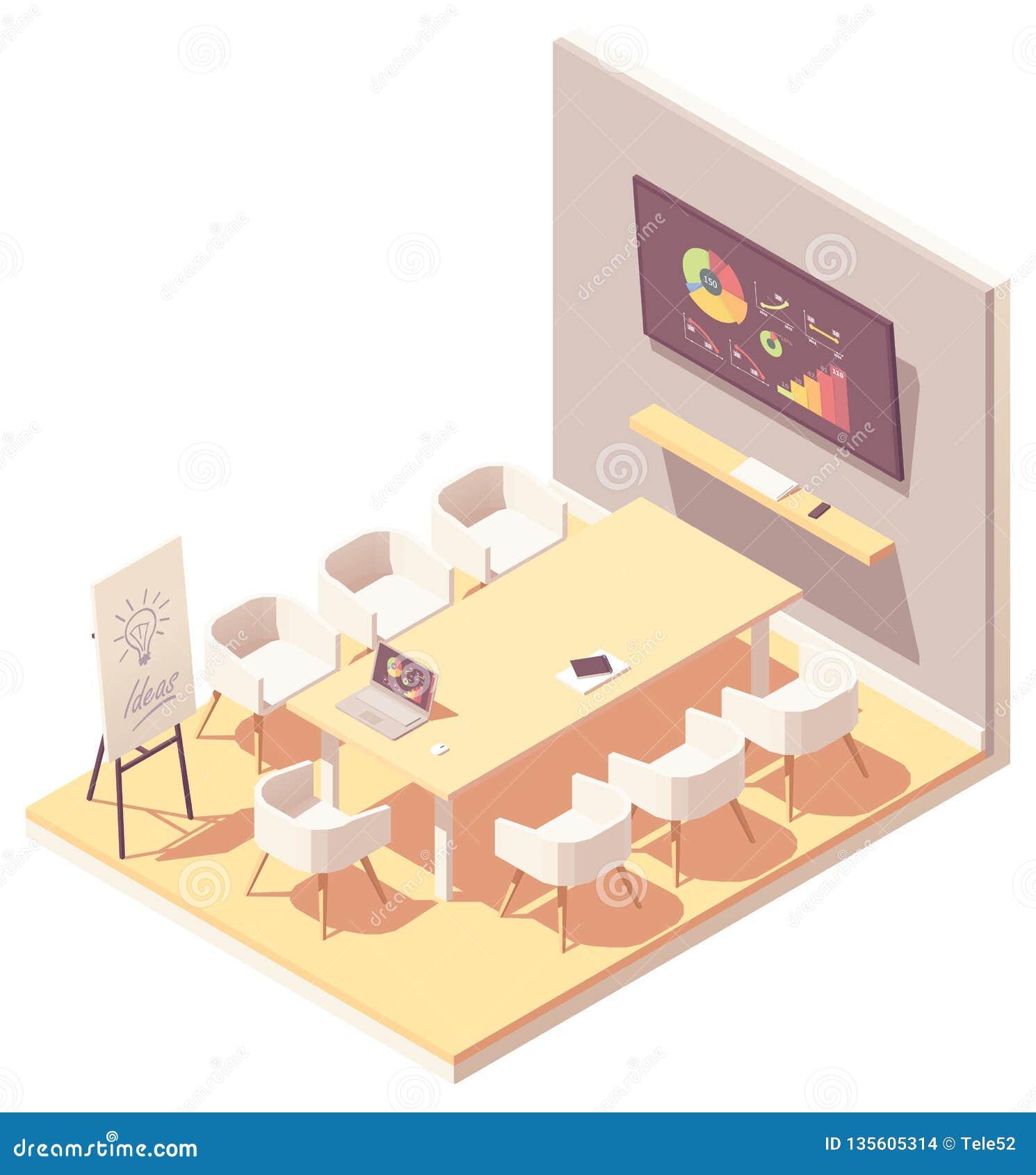 Интерьер конференц-зала офиса вектора равновеликий