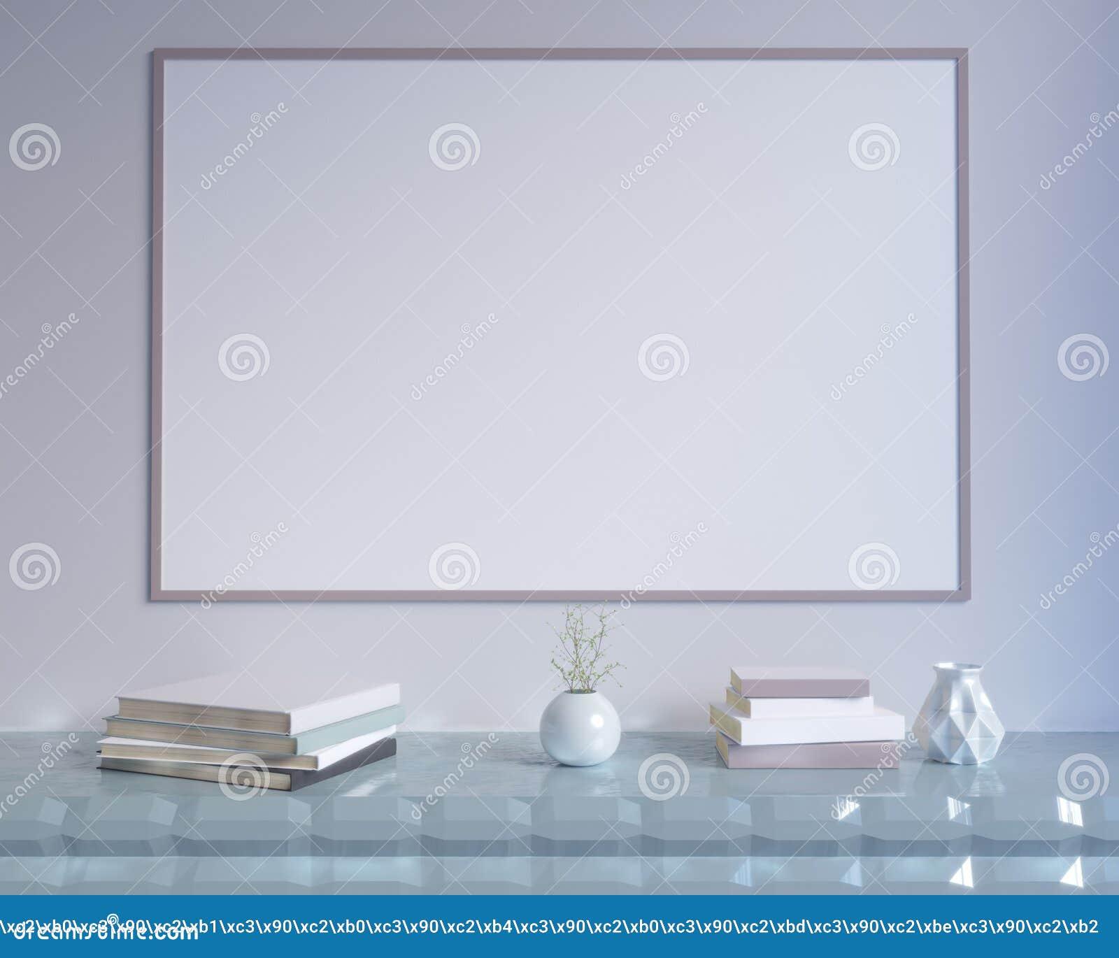 Интерьер концепции, глумится вверх по плакату на стене, иллюстрации 3d представляет, представлять, ретро, комната, скандинавская