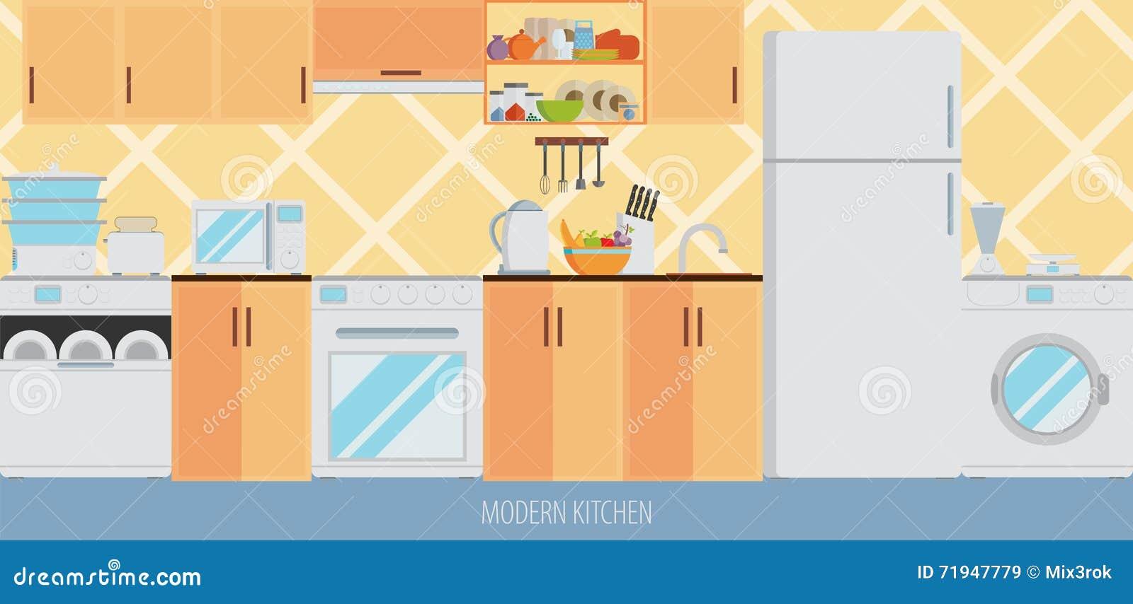Интерьер кухни с мебелью и варя утварями Плоский стиль