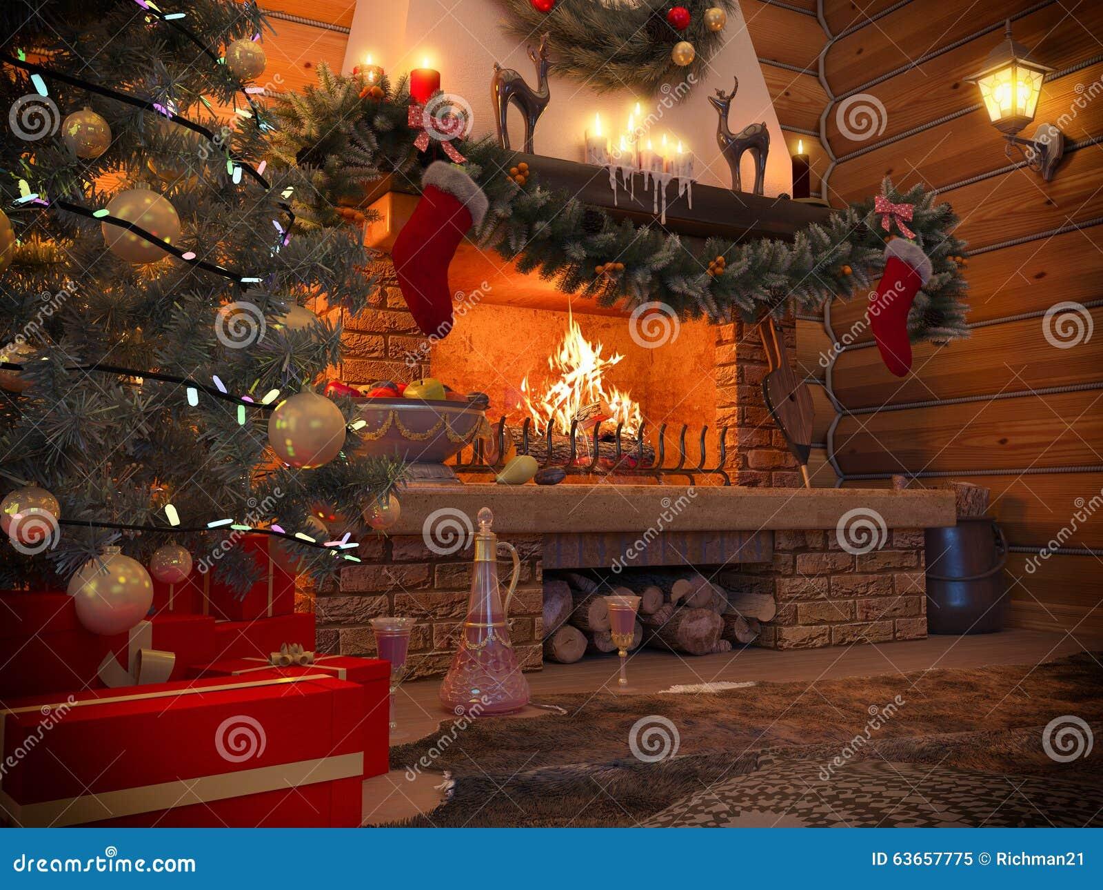 интерьер Нового Года иллюстрации 3D с рождественской елкой, настоящими моментами