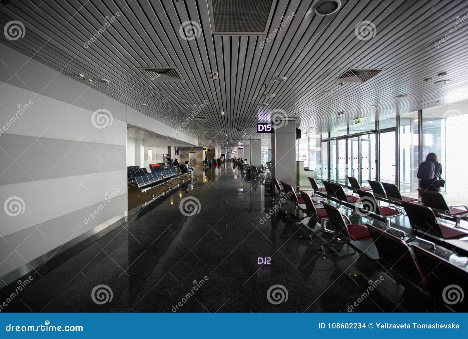 Интерьер 15-ое мая 2014 Украины международного аэропорта Borispol: Новый стержень для отклонения воздушных судн Тема воздуха tr