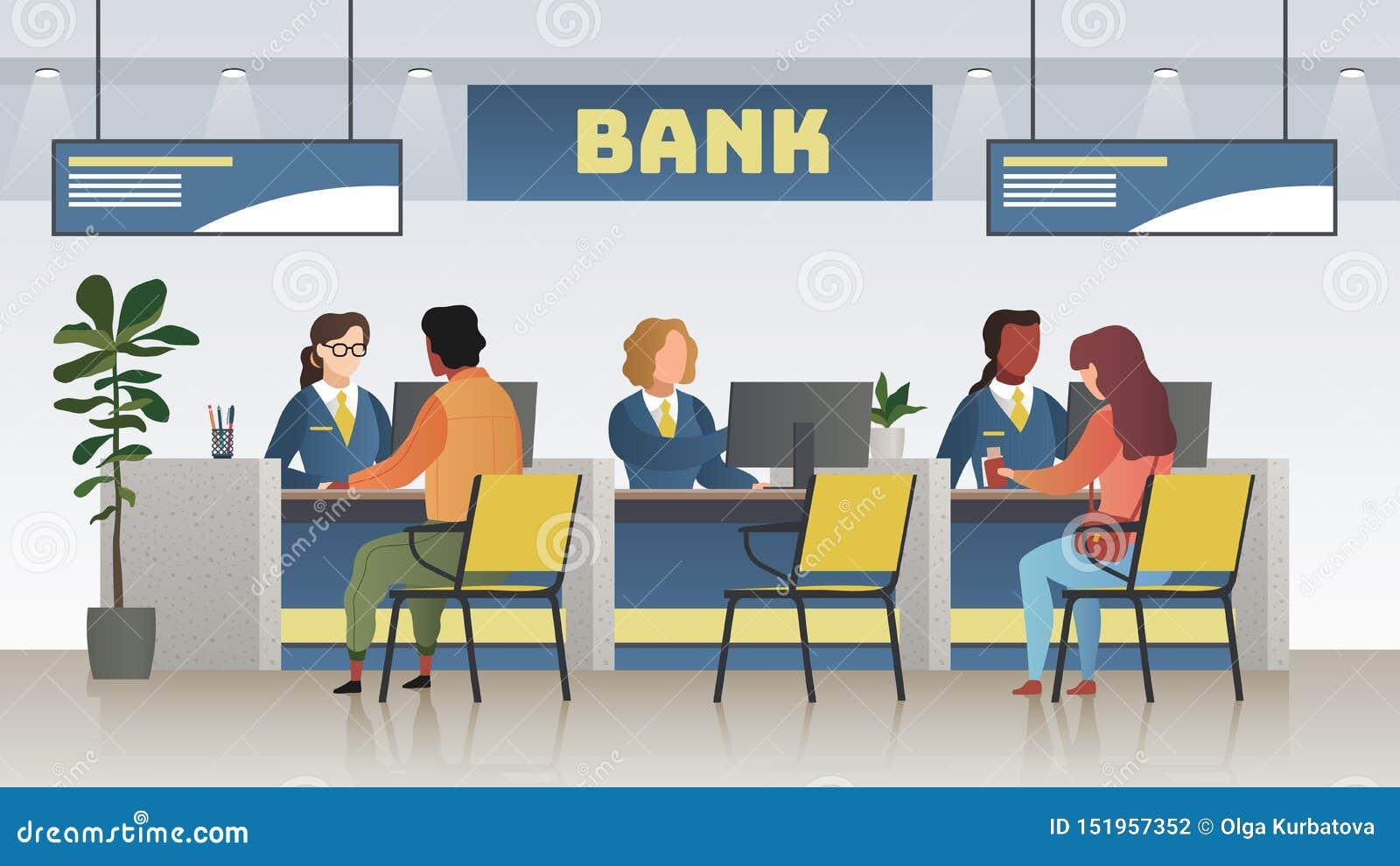 Интерьер офиса банка Профессиональное банковское обслуживание, менеджер финансов и клиенты Кредит, депозирует для того чтобы посо