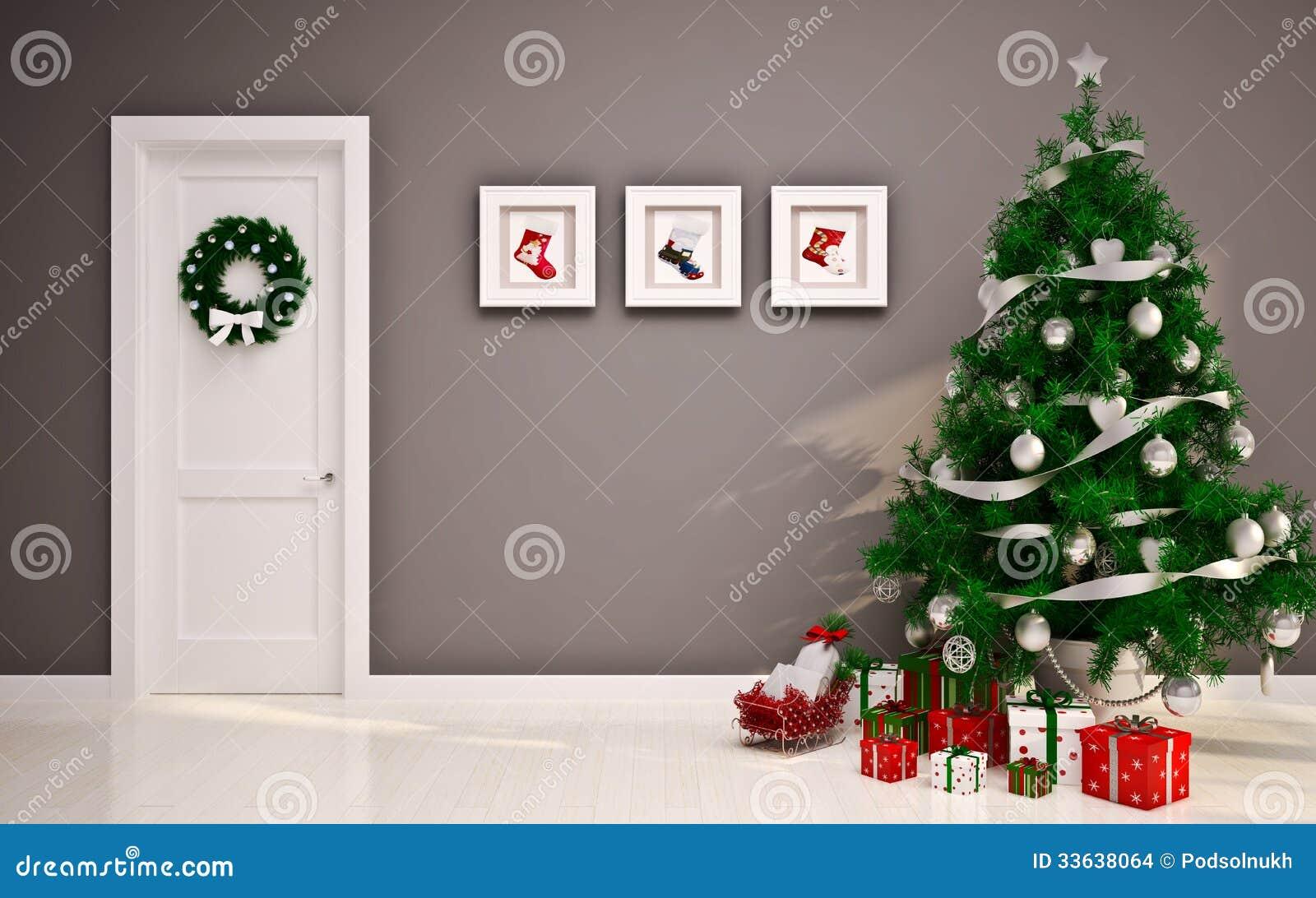 Интерьер рождества пустой с дверью & деревом