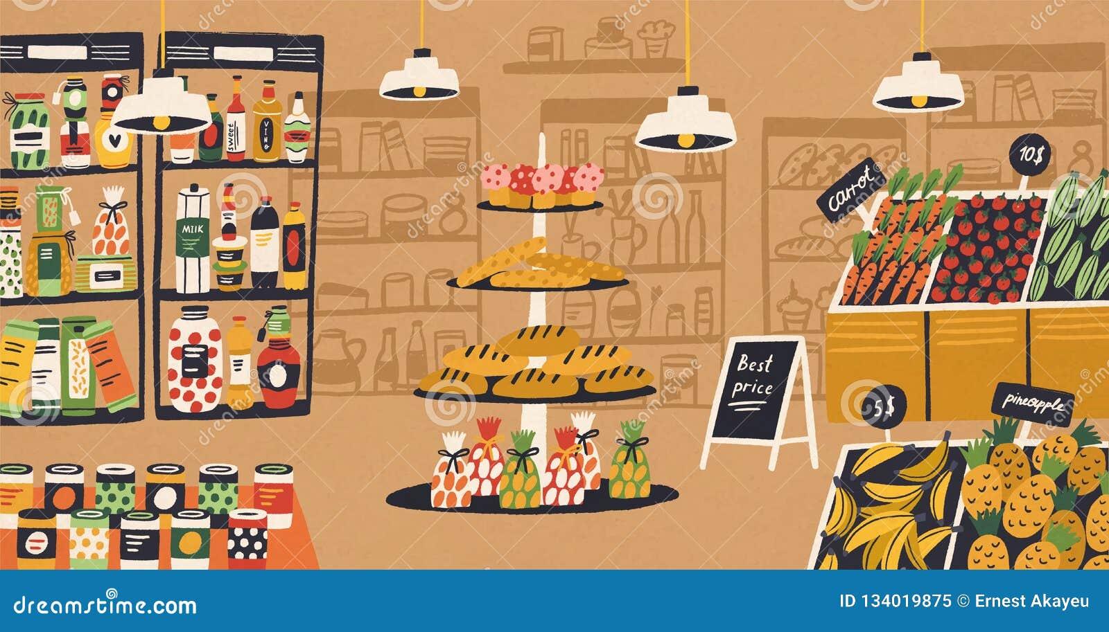 Интерьер современного гастронома с продуктами лежа на полках и ценниках Ассортимент еды на супермаркете