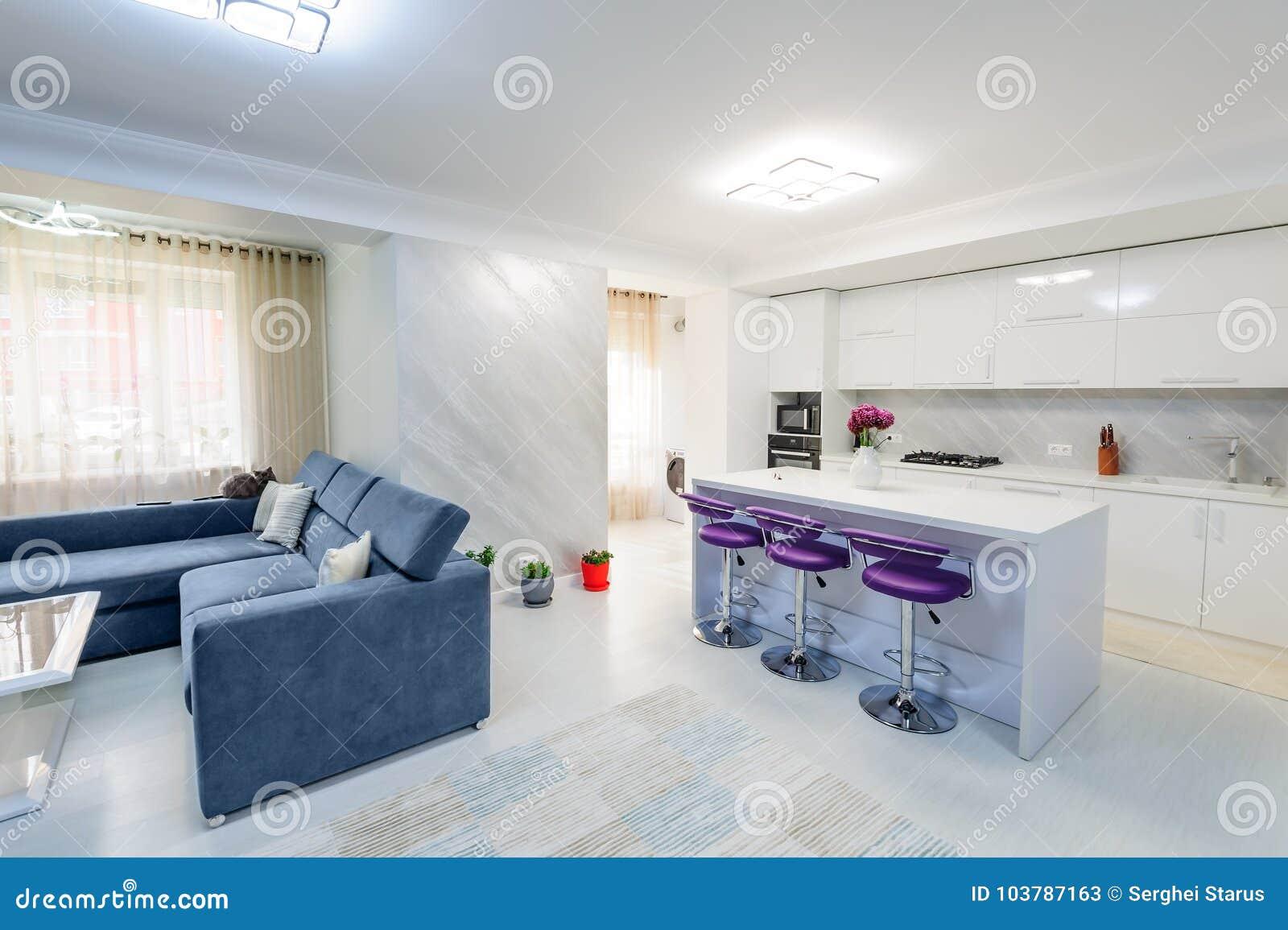интерьер современной белой квартира студии с кухней стоковое