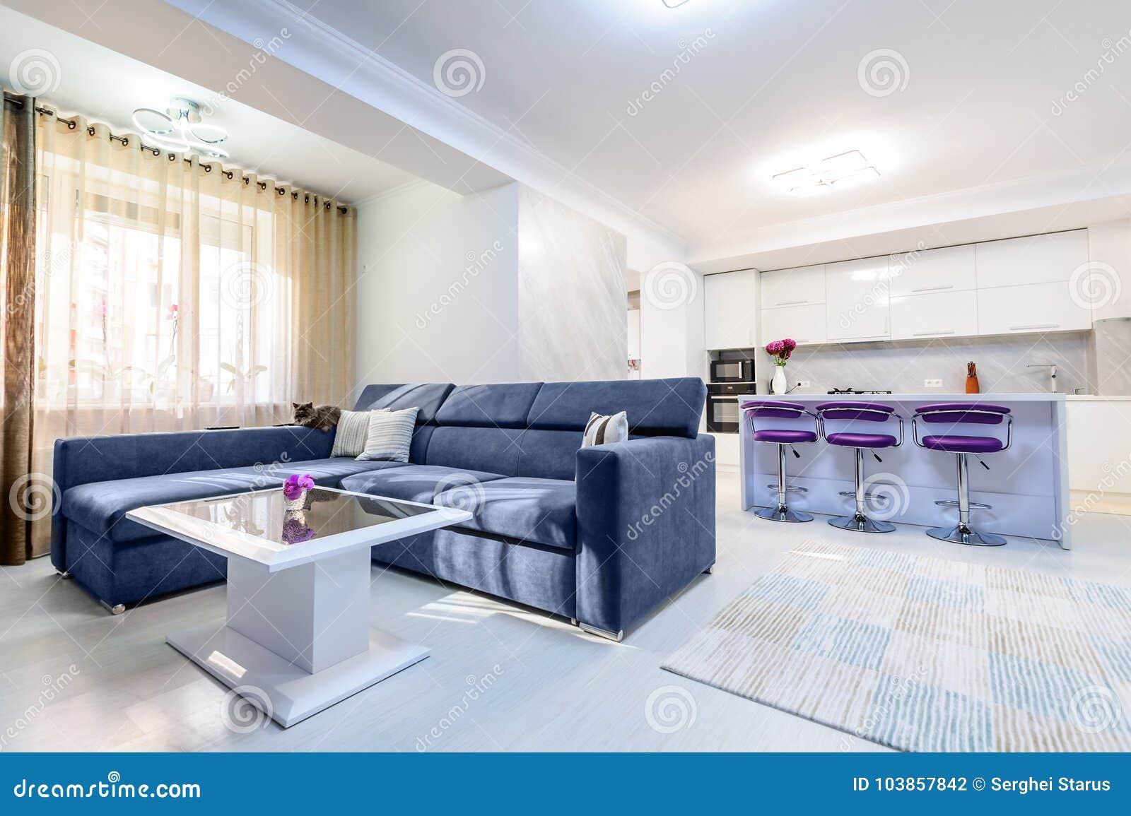 интерьер современной белой квартира студии с кухней стоковое фото