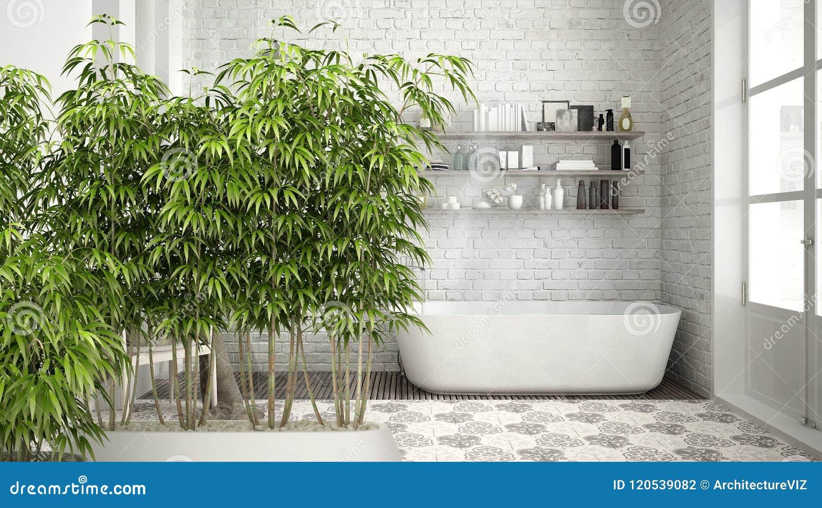 Интерьер с в горшке бамбуковым заводом, естественная конструктивная схема Дзэн дизайна интерьера, скандинавская ванная комната, к