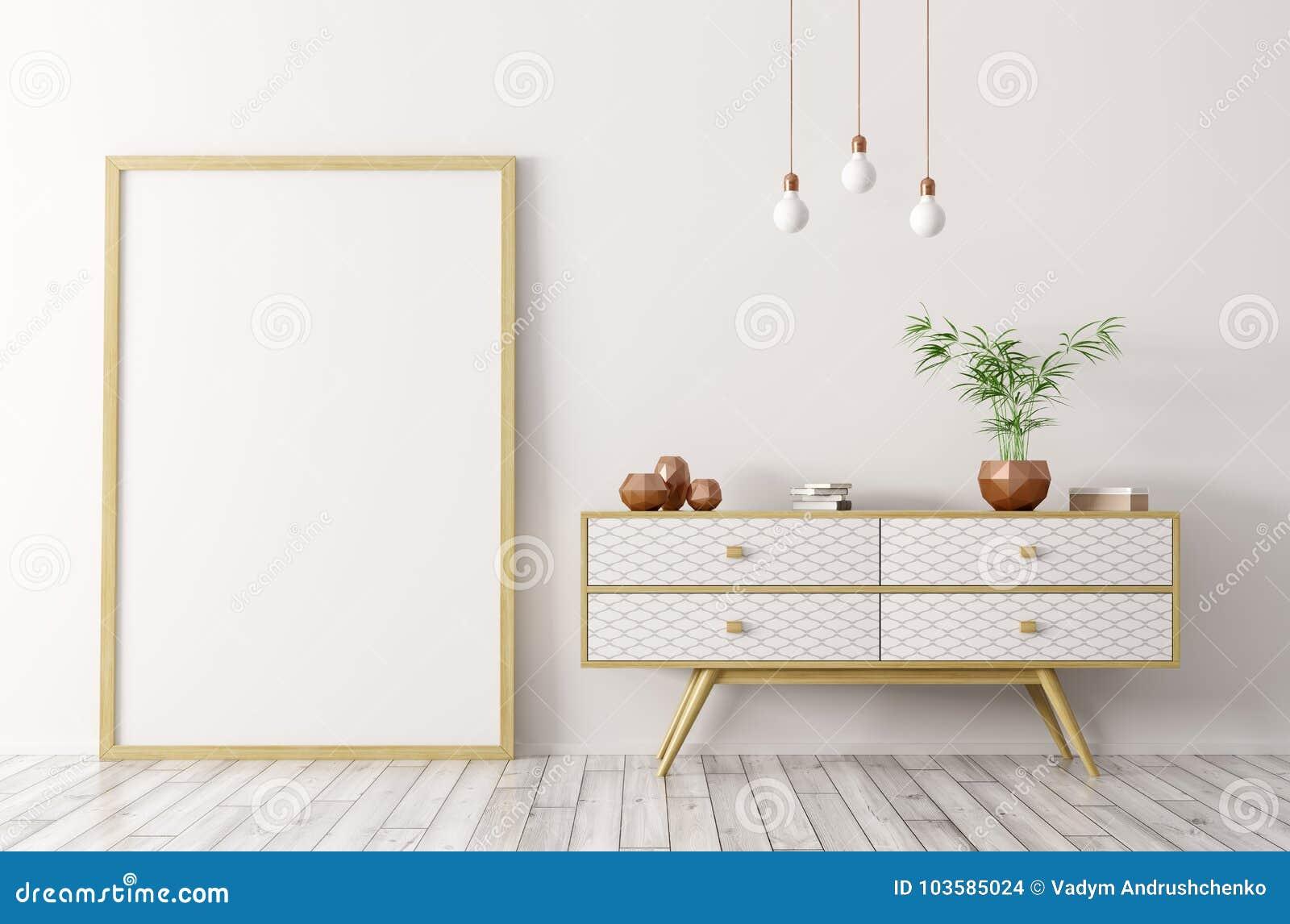 Интерьер с деревянным sideboard и насмешка вверх по переводу рамки 3d